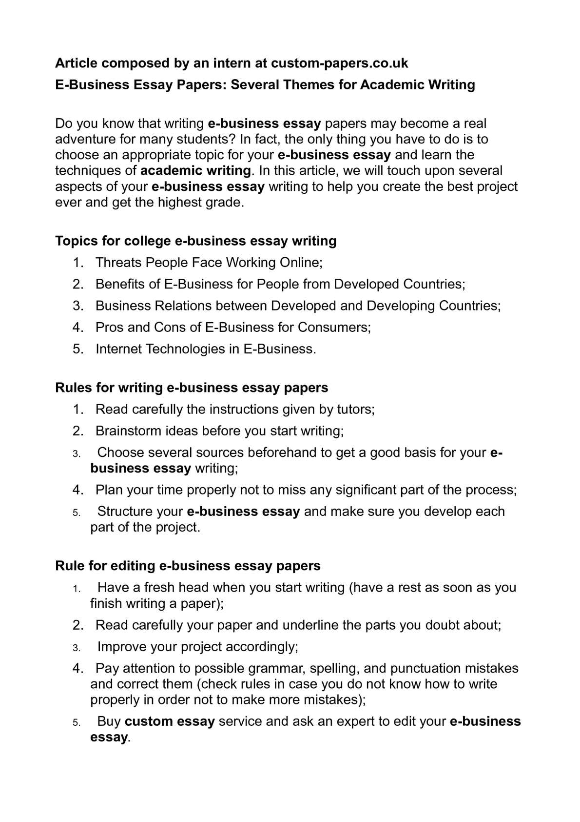 Business essays samples