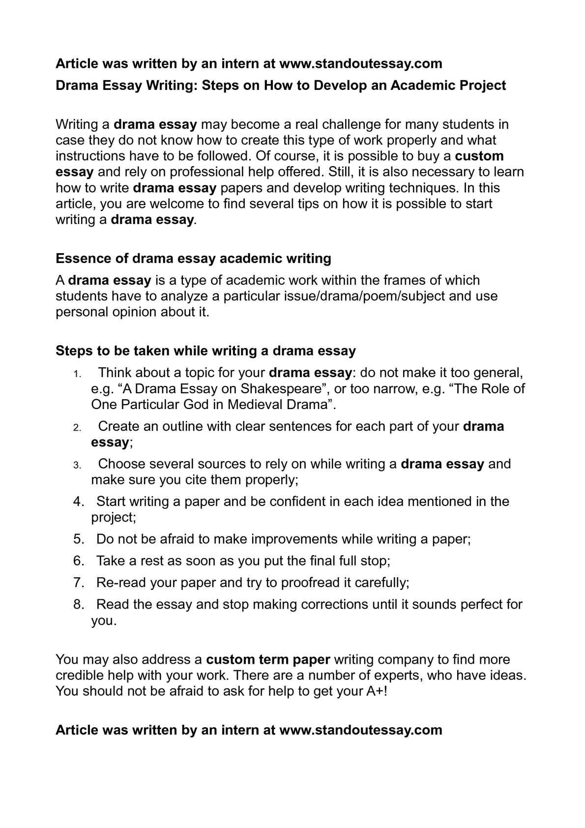 Drama Essay Outline