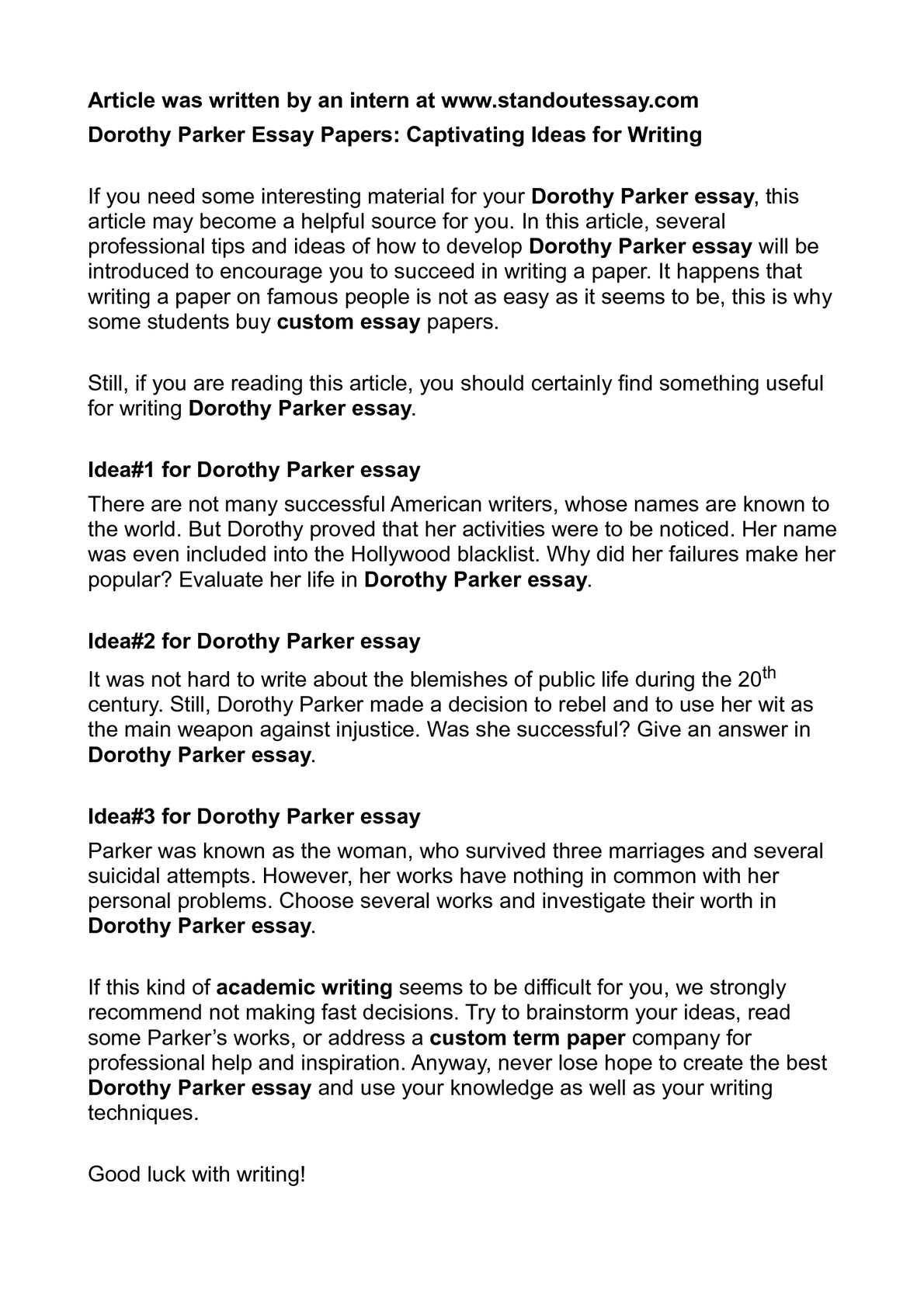 Calamo  Dorothy Parker Essay Papers Captivating Ideas For Writing Dorothy Parker Essay Papers Captivating Ideas For Writing