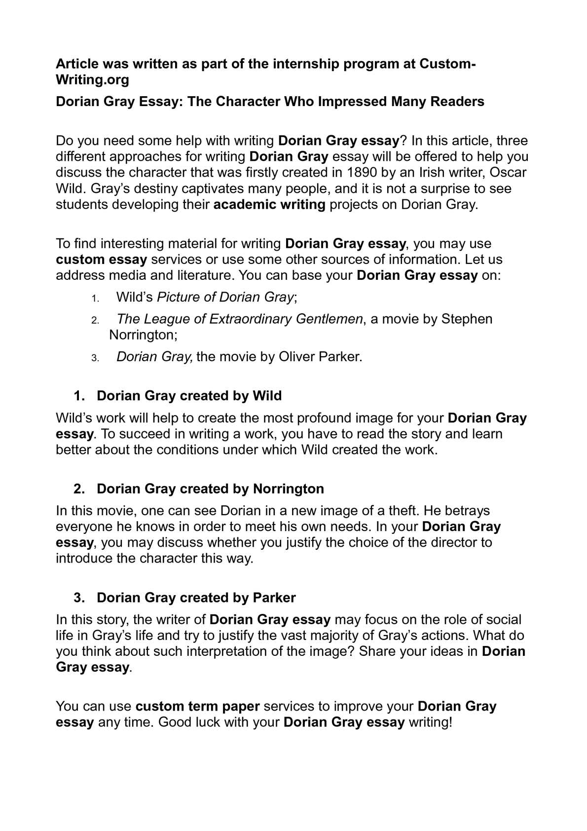 Calamo  Dorian Gray Essay The Character Who Impressed Many Readers  Do My Economics Assignment also Essay Paper Help  Business Plan Writer Las Vegas