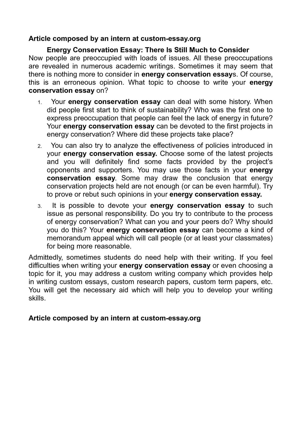 Calamo  Energy Conservation Essay There Is Still Much To Consider