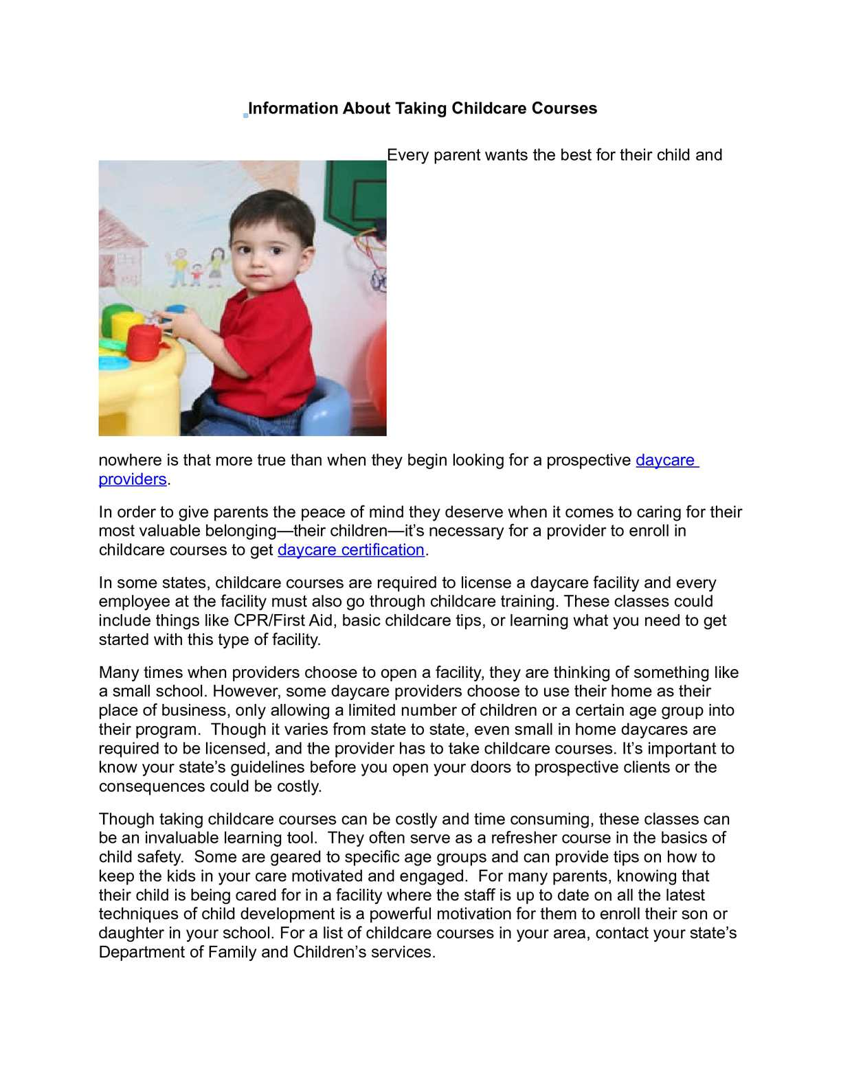 Calamo Information About Taking Childcare Courses