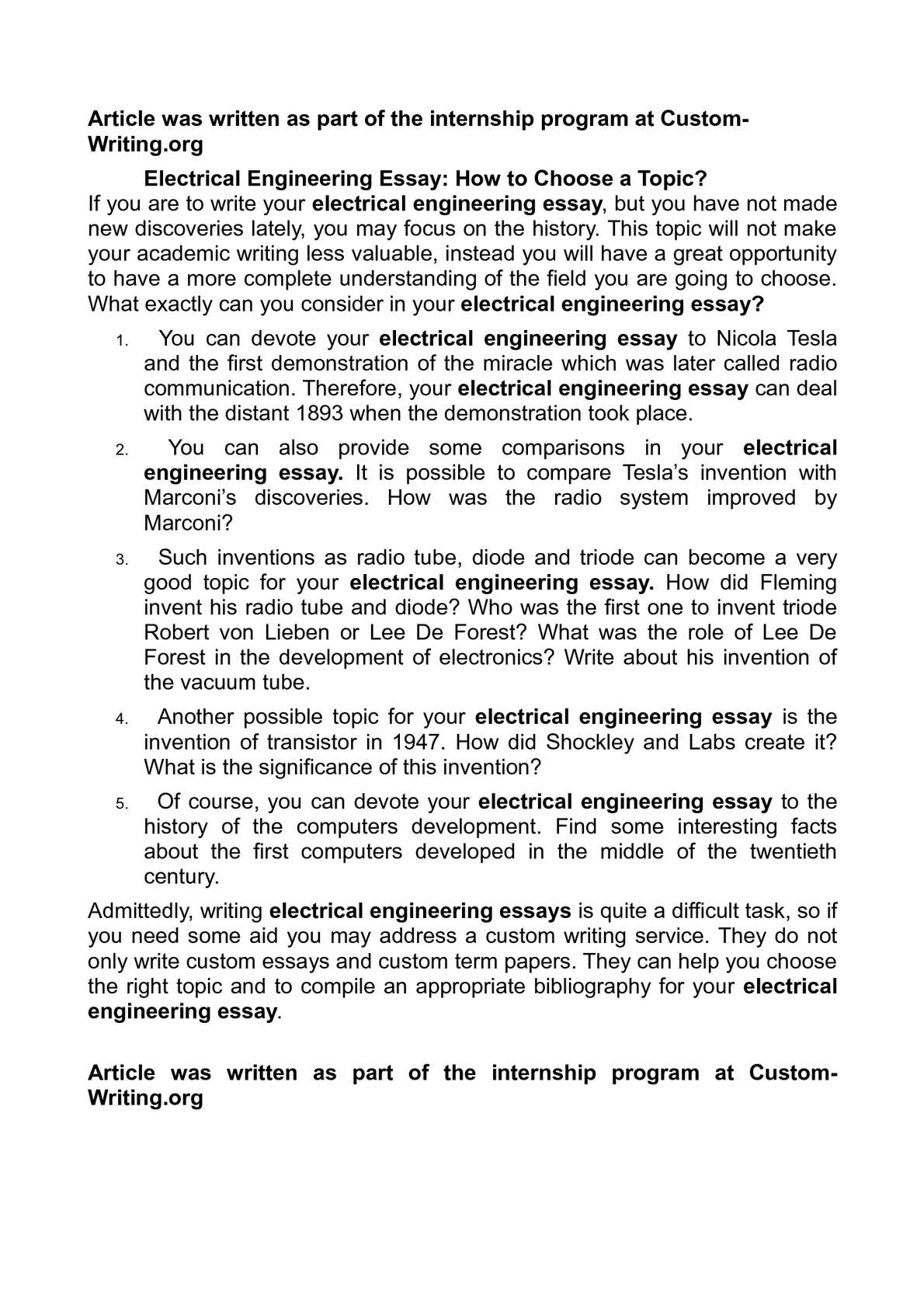 calam eacute o electrical engineering essay how to choose a topic