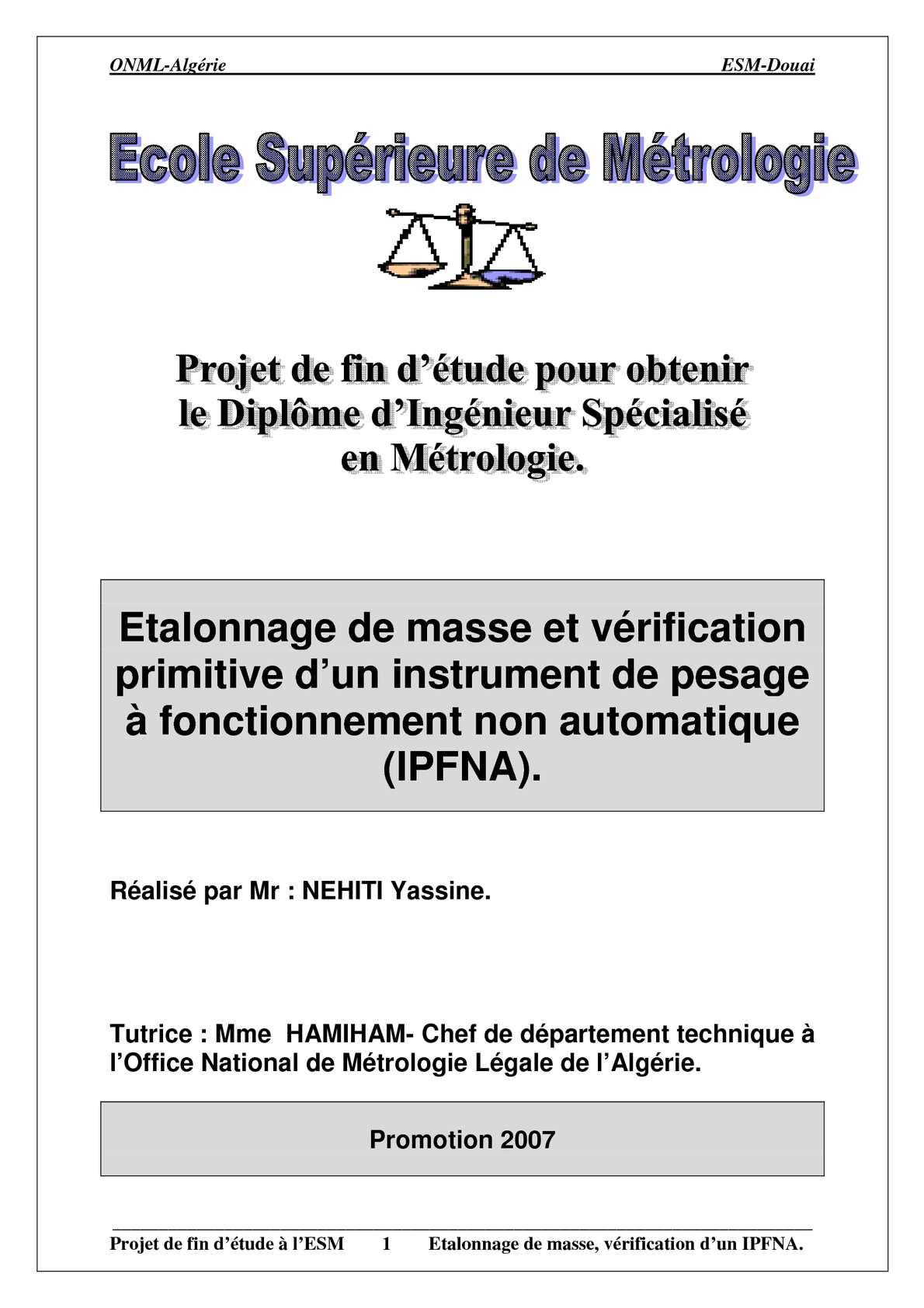 Métrologie des masses par Monsieur NEHITI Yassine de l'ESM.