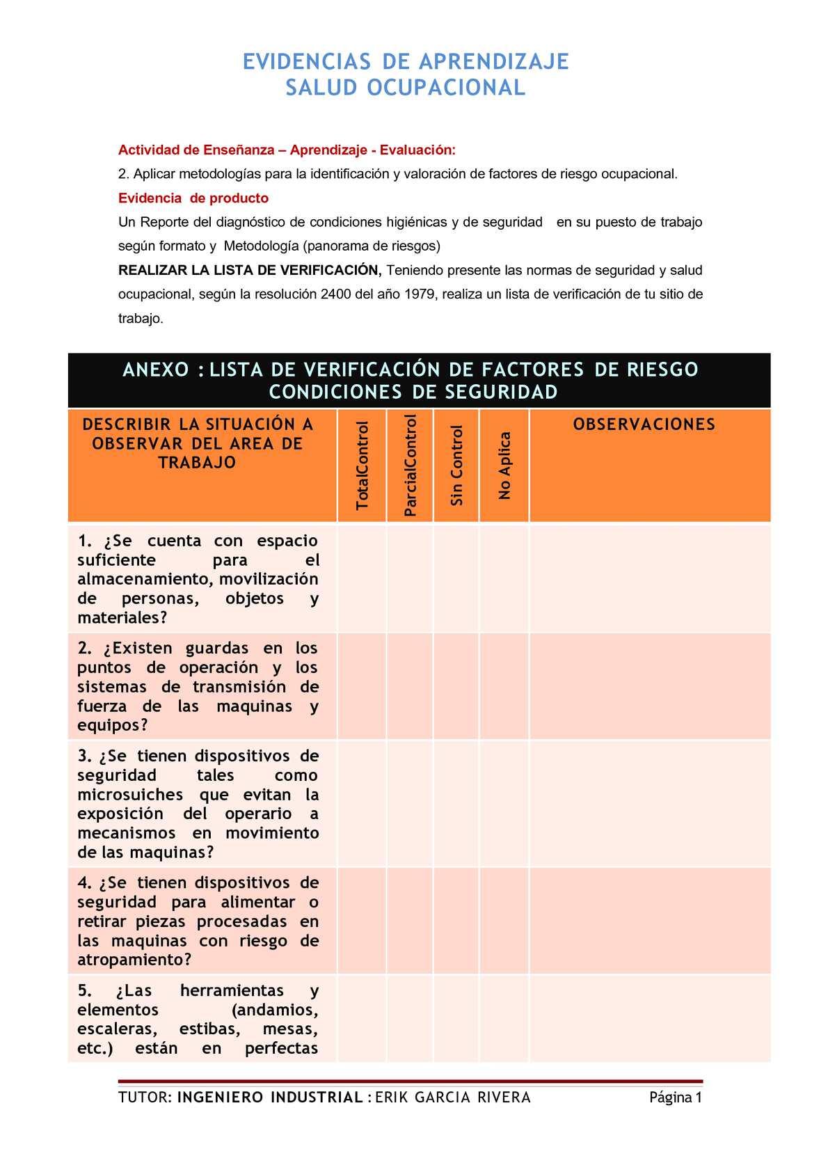 Calaméo - EJEMPLO DE LISTAS CHEQUEO O DE VERIFICACIÓN DE RIESGOS