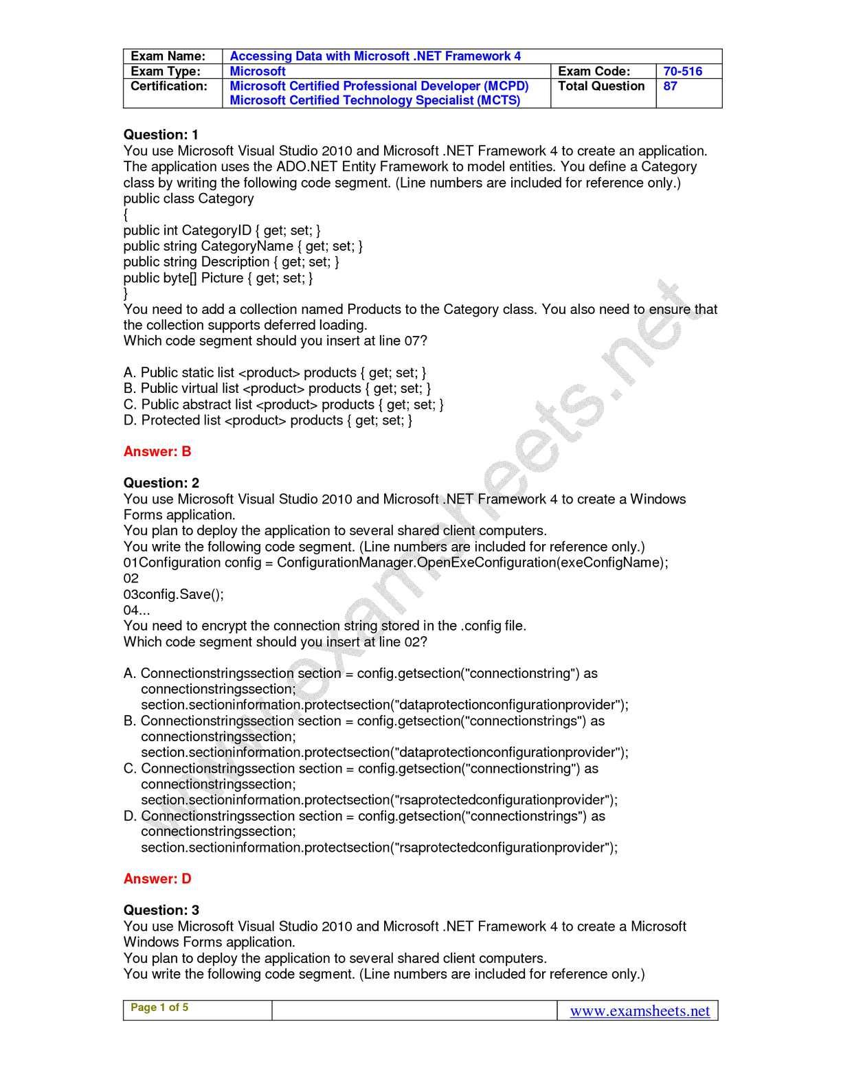 Calamo Exam Sheets 70 516 Practice Exam Questions Microsoft 70