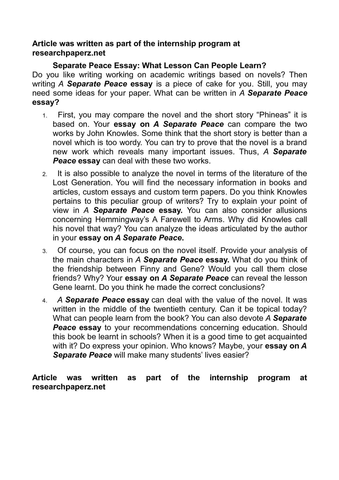 An Essay On A Separate Peace  Research Paper Service  An Essay On A Separate Peace A Separate Peace Essays Newer Than To Write  Their Essays Science Argumentative Essay Topics also Writing Can Help  Writing Essay Papers