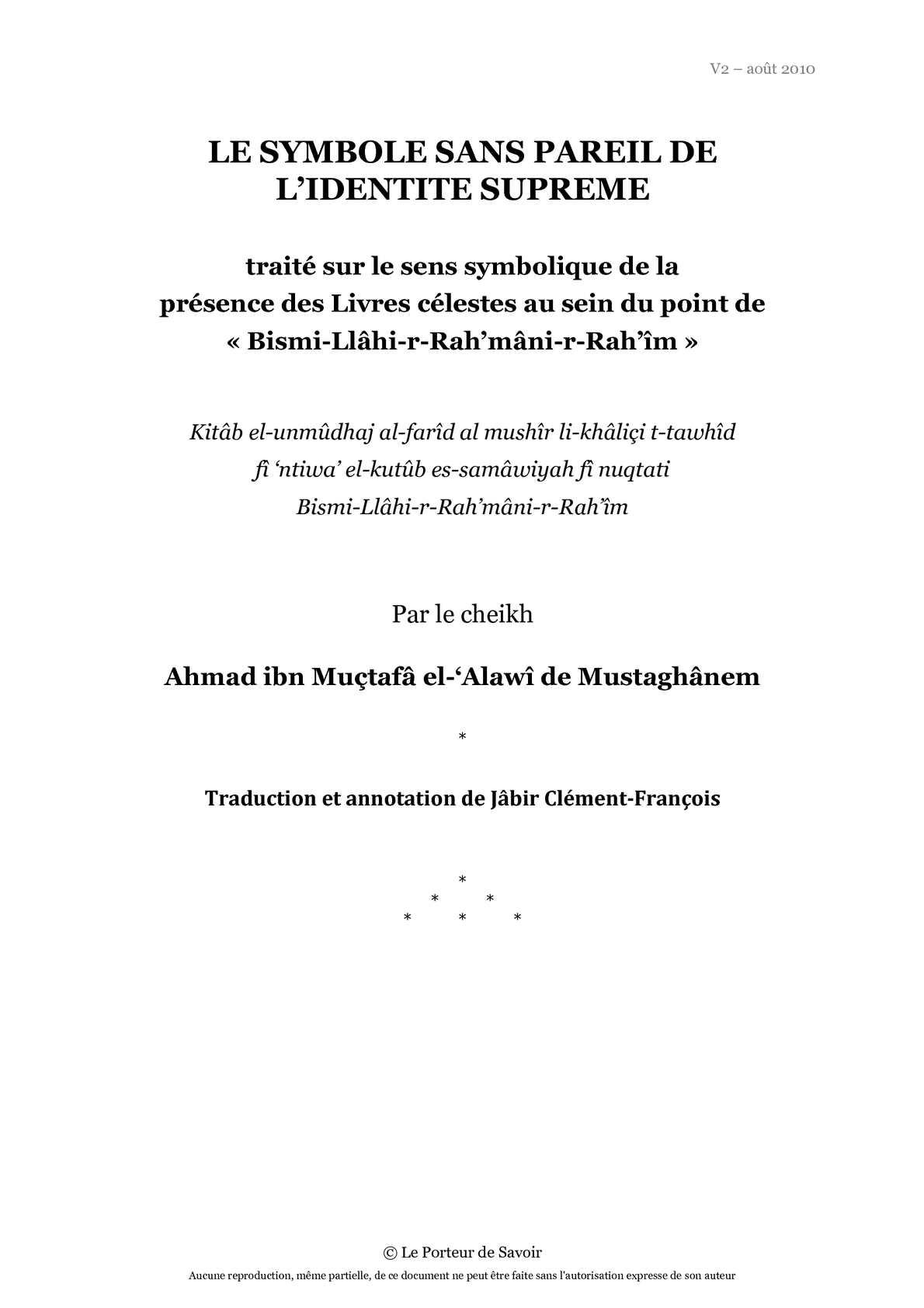 Le Symbole Sans Pareil de L'Identité Suprême - Sheikh Al-'Alawiy