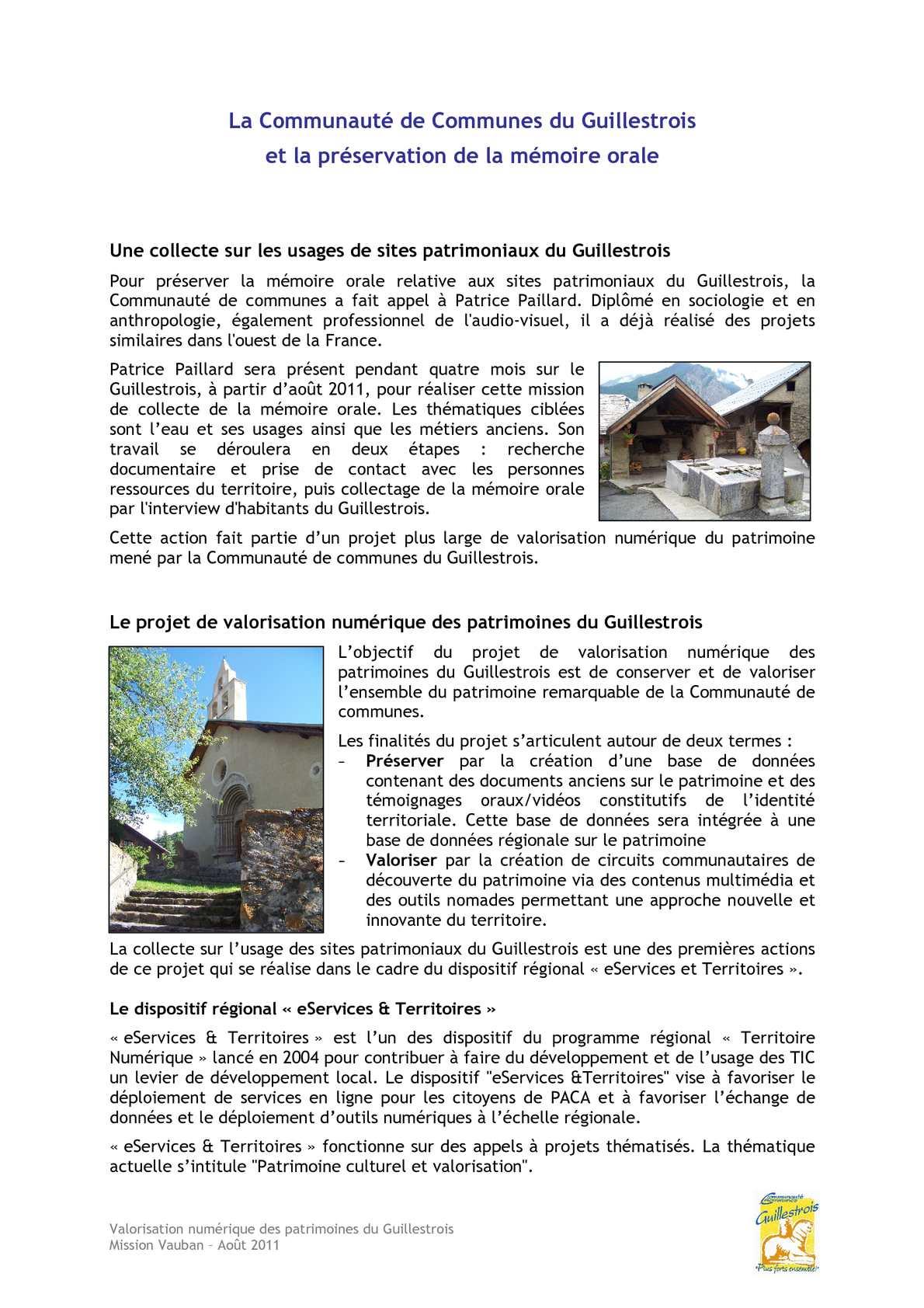 Mémoire orale et valorisation numérique du patrimoine du Guillestrois