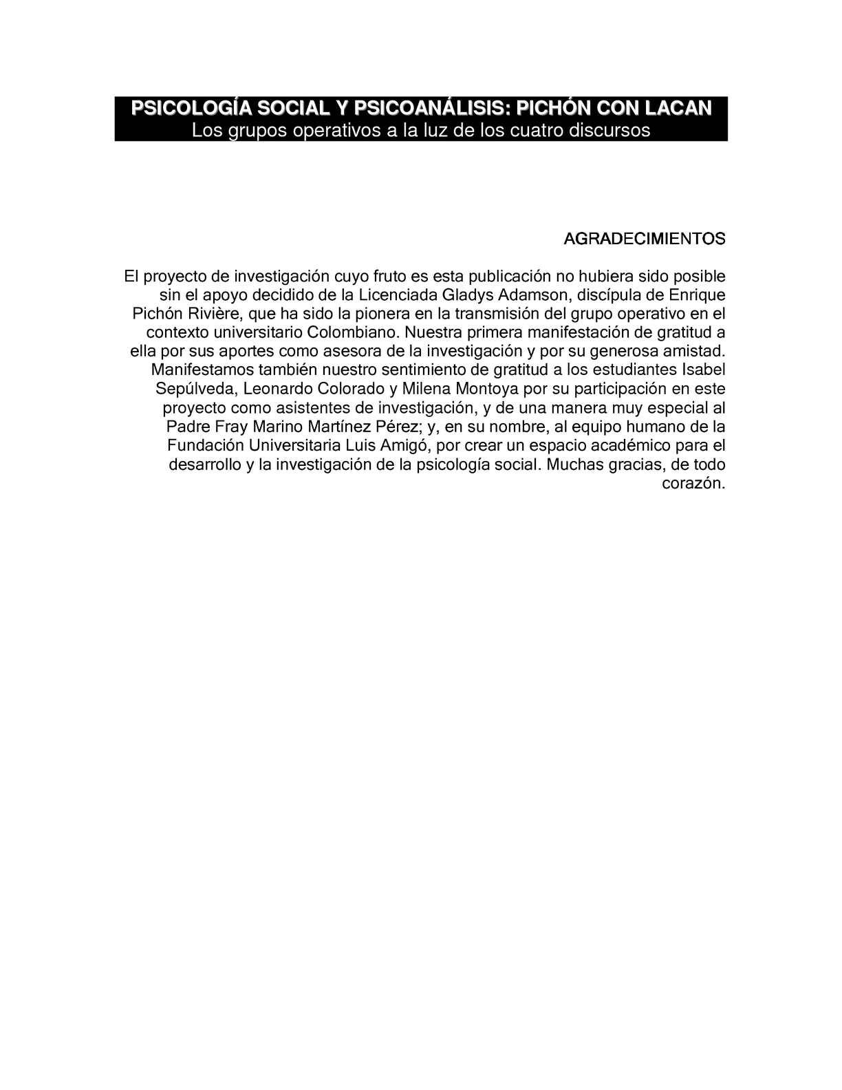 PSICOLOGÍA SOCIAL Y PSICOANÁLISIS: PICHÓN CON LACAN