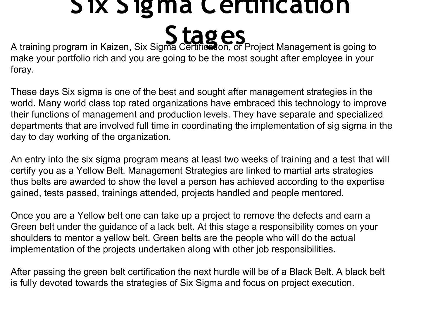 Calamo Six Sigma Certification Stages