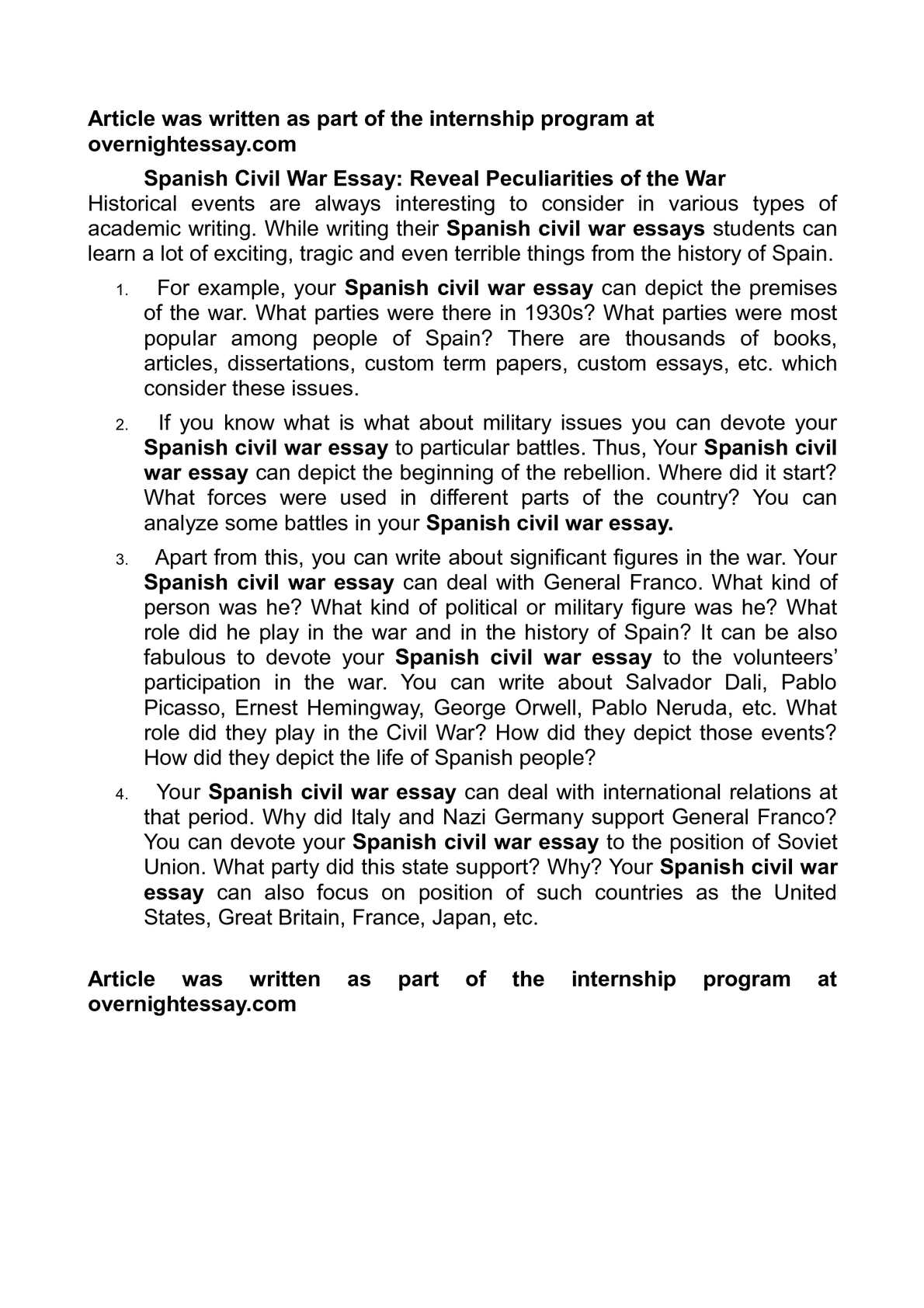Types Of English Essays  Business Plan Writer Canada also High School Essay Example Calamo  Spanish Civil War Essay Reveal Peculiarities Of The War Thesis Statements For Persuasive Essays
