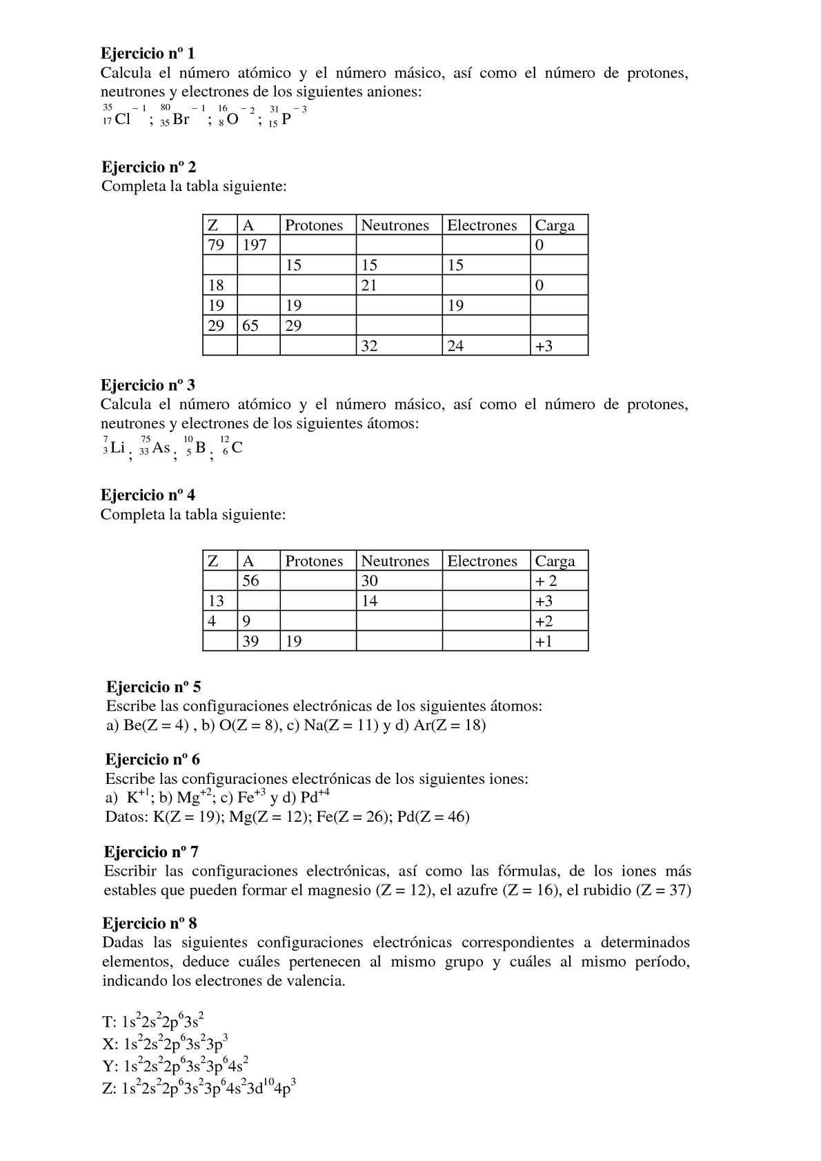 Calamo ejercicios atomos y tabla periodica urtaz Image collections