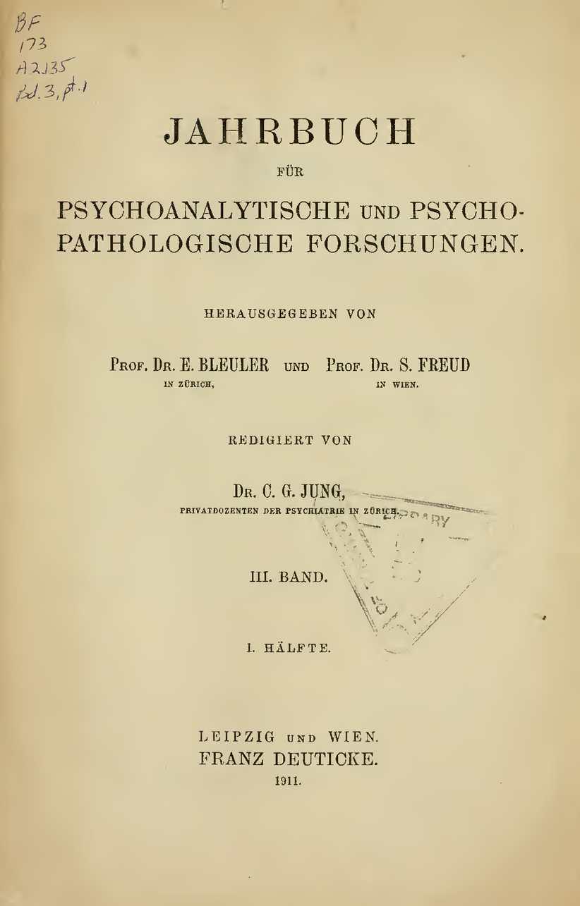 Calaméo   Jahrbuch Für Psychoanalytische Und Psychopathologische  Forschungen III 1911 1.Hälfte