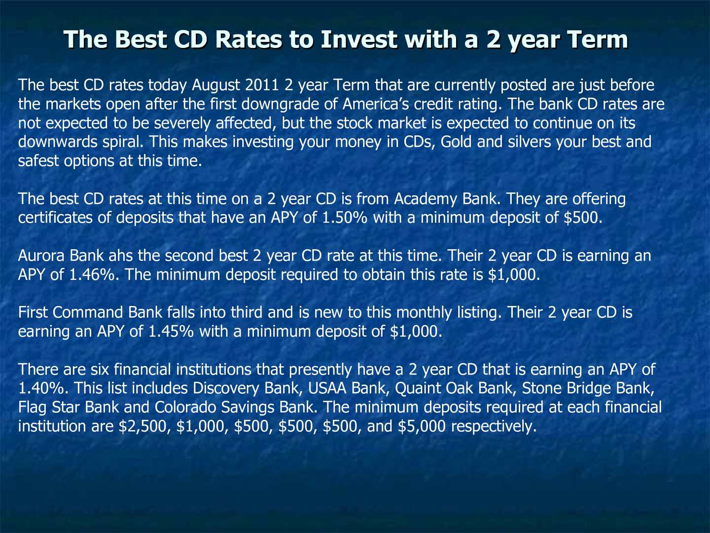 Calamo The Best Cd Rates To Invest With A 2 Year Term