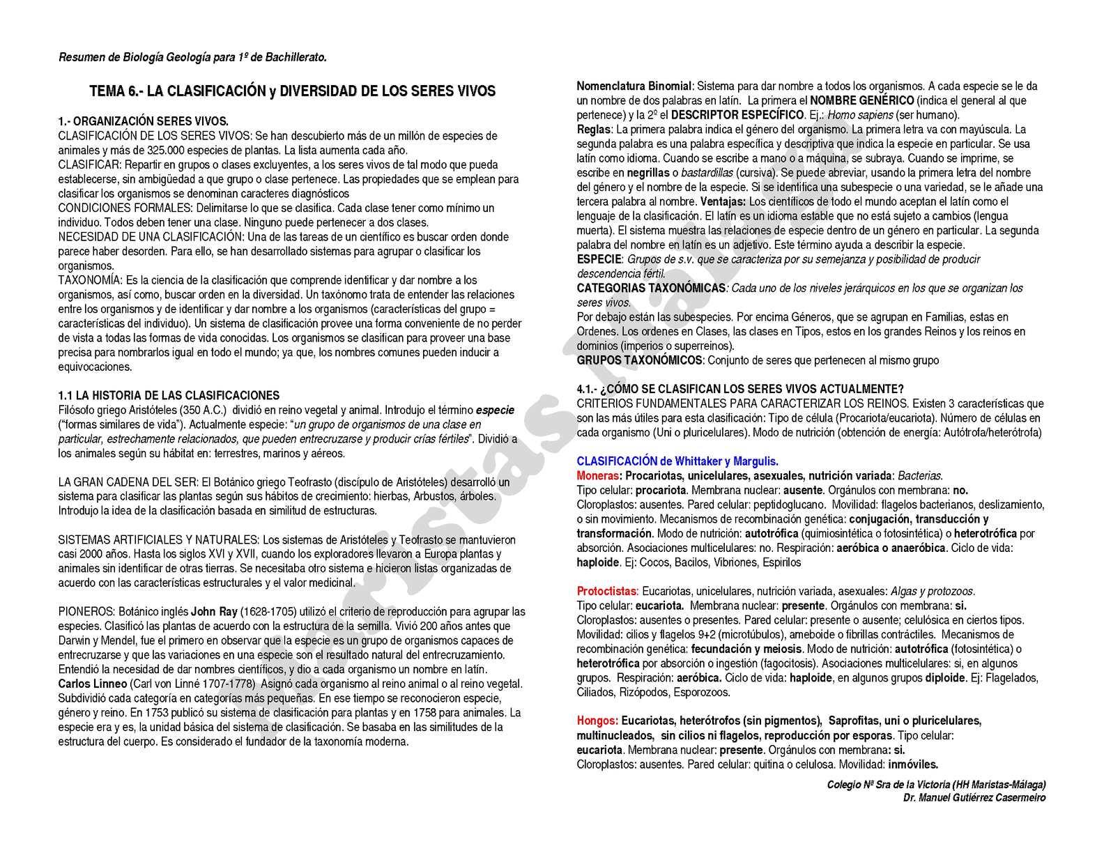 1º BAC-RESUMEN TEMA 06 Clasificación y diversidad de los seres vivos