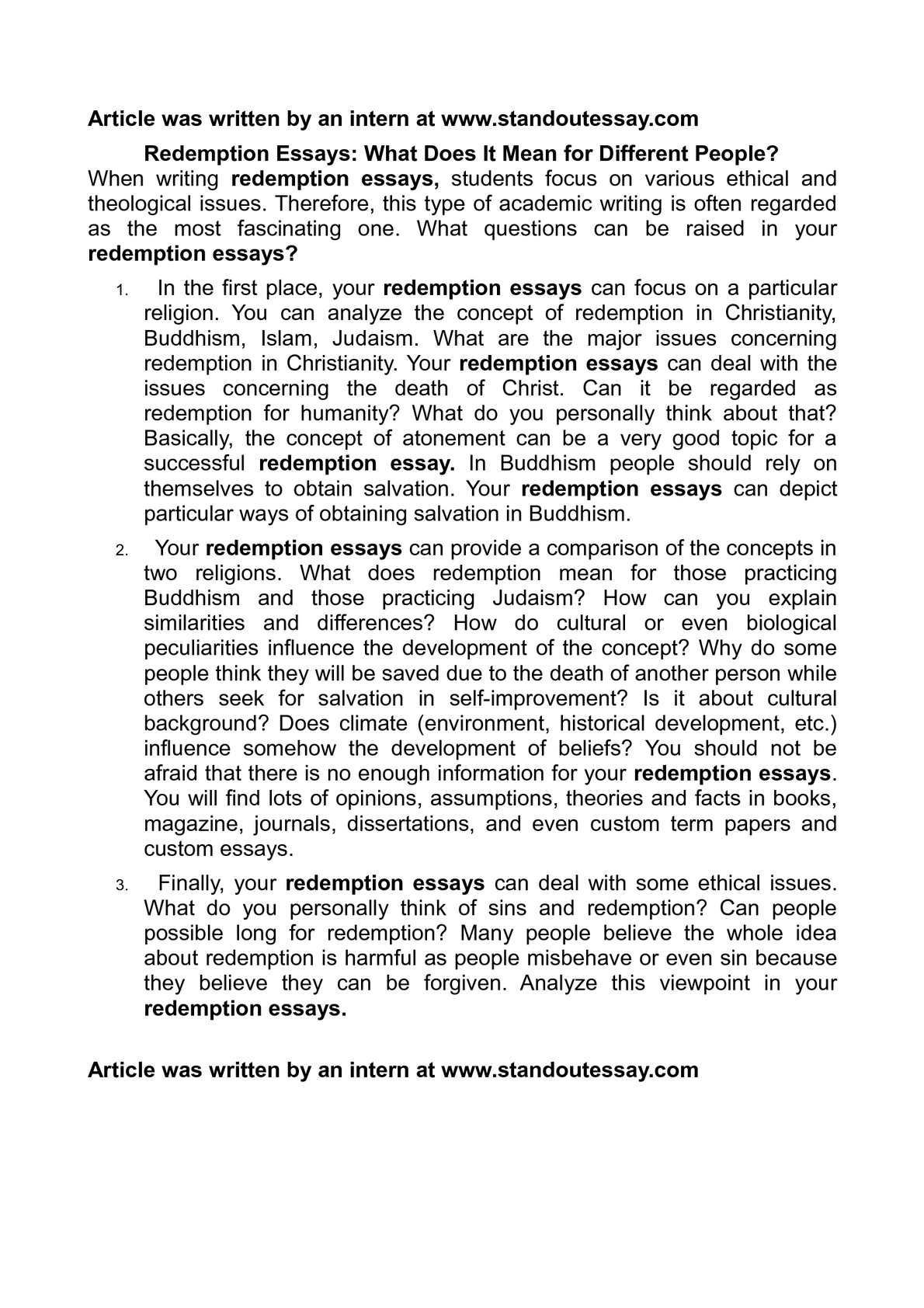 Protein Synthesis Essay  Essay In English For Students also High School Essay Topics Calamo  Redemption Essays What Does It Mean For Different People Genetically Modified Food Essay Thesis