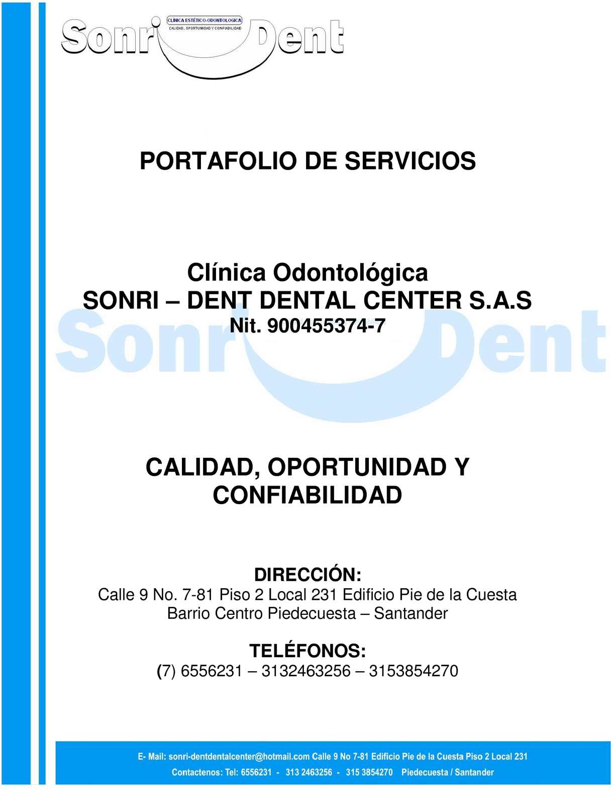 PORTAFOLIO DE SERVICIOS - SONRI-DENT DENTAL CENTER