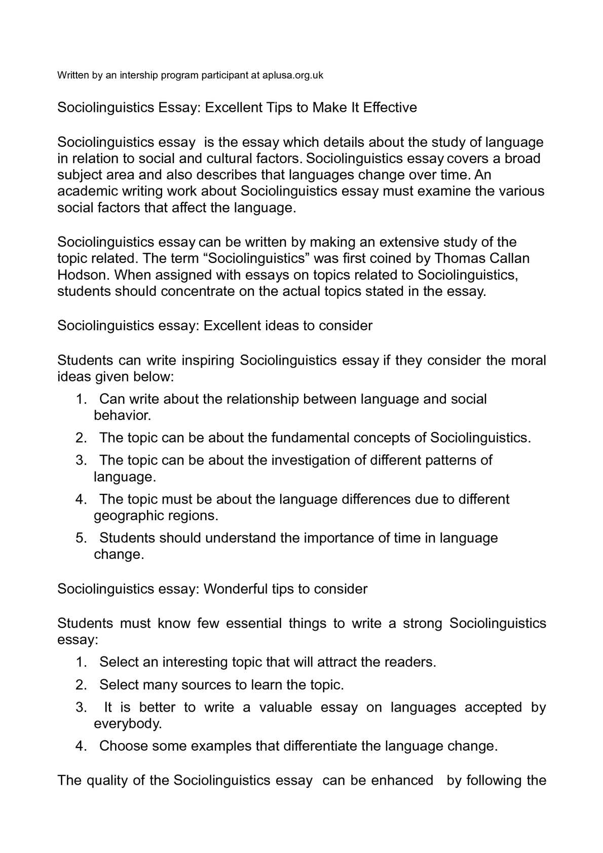 how to write a sociolinguistics essay