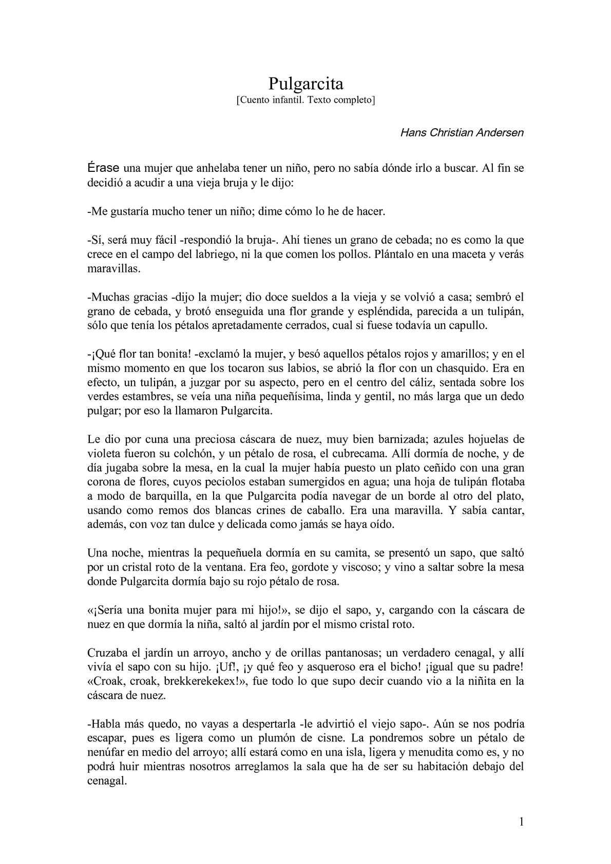 Calaméo - Pulgarcita, un cuento de Hans Christian Andersen