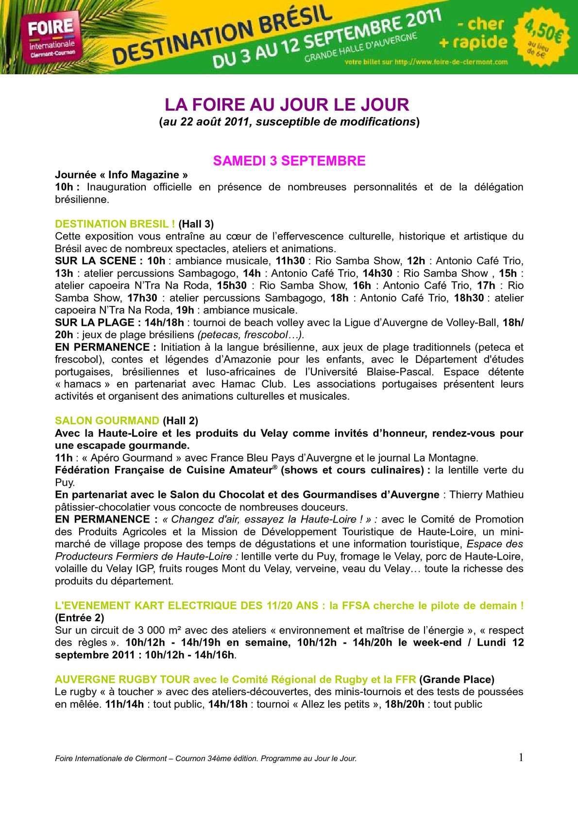 Calam o programme foire internationale de clermont for Foire internationale de clermont cournon