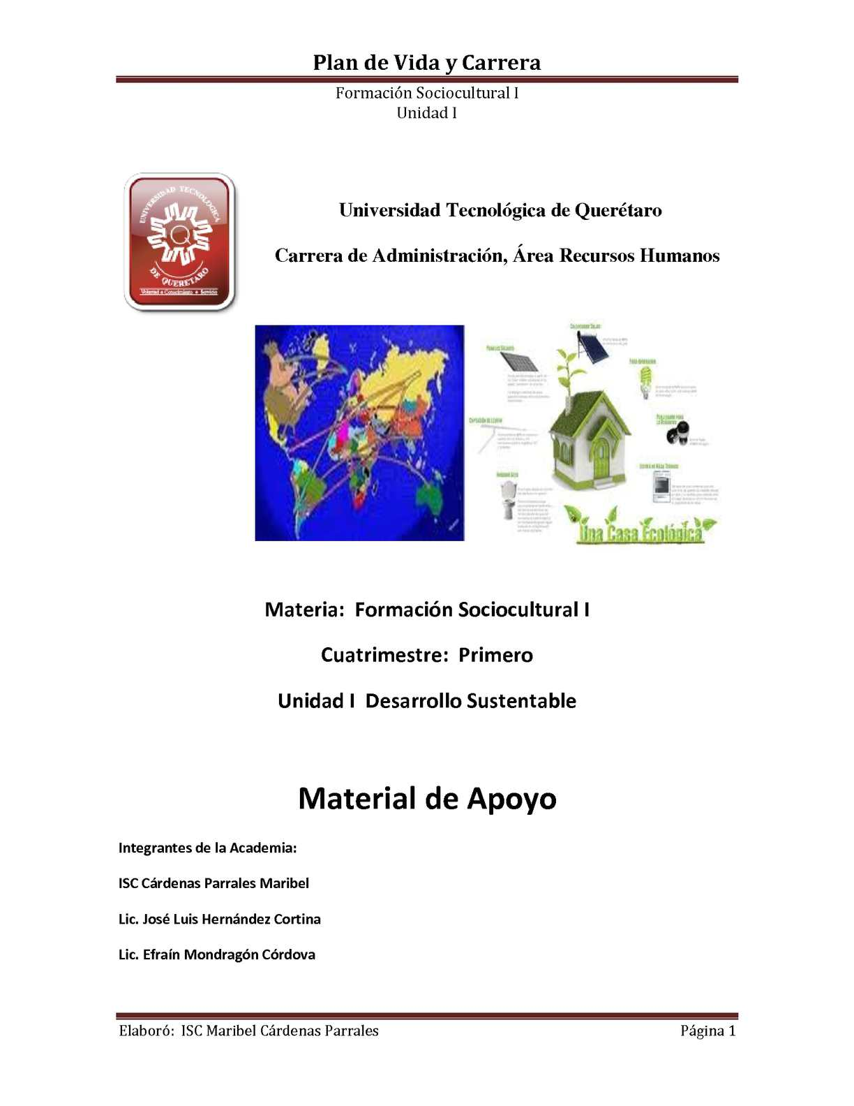 Unidad I Desarrollo Sustentable Material de Apoyo
