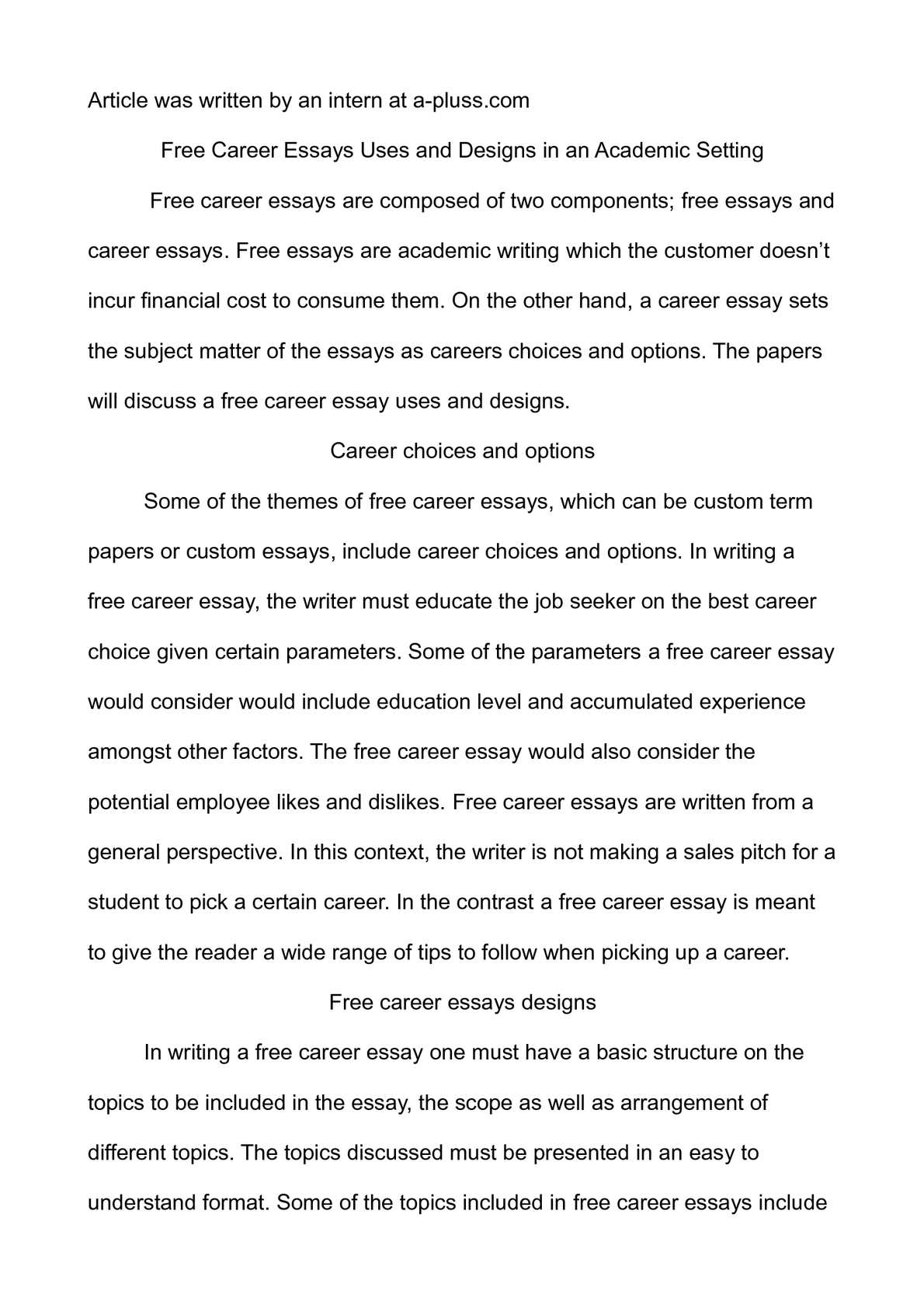 Calam o free career essays uses and designs in an academic setting