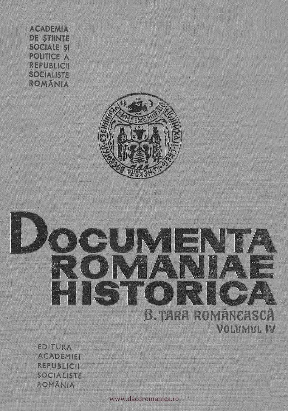 DRH. Seria B Ţara Românească. Volumul 4 1536-1550