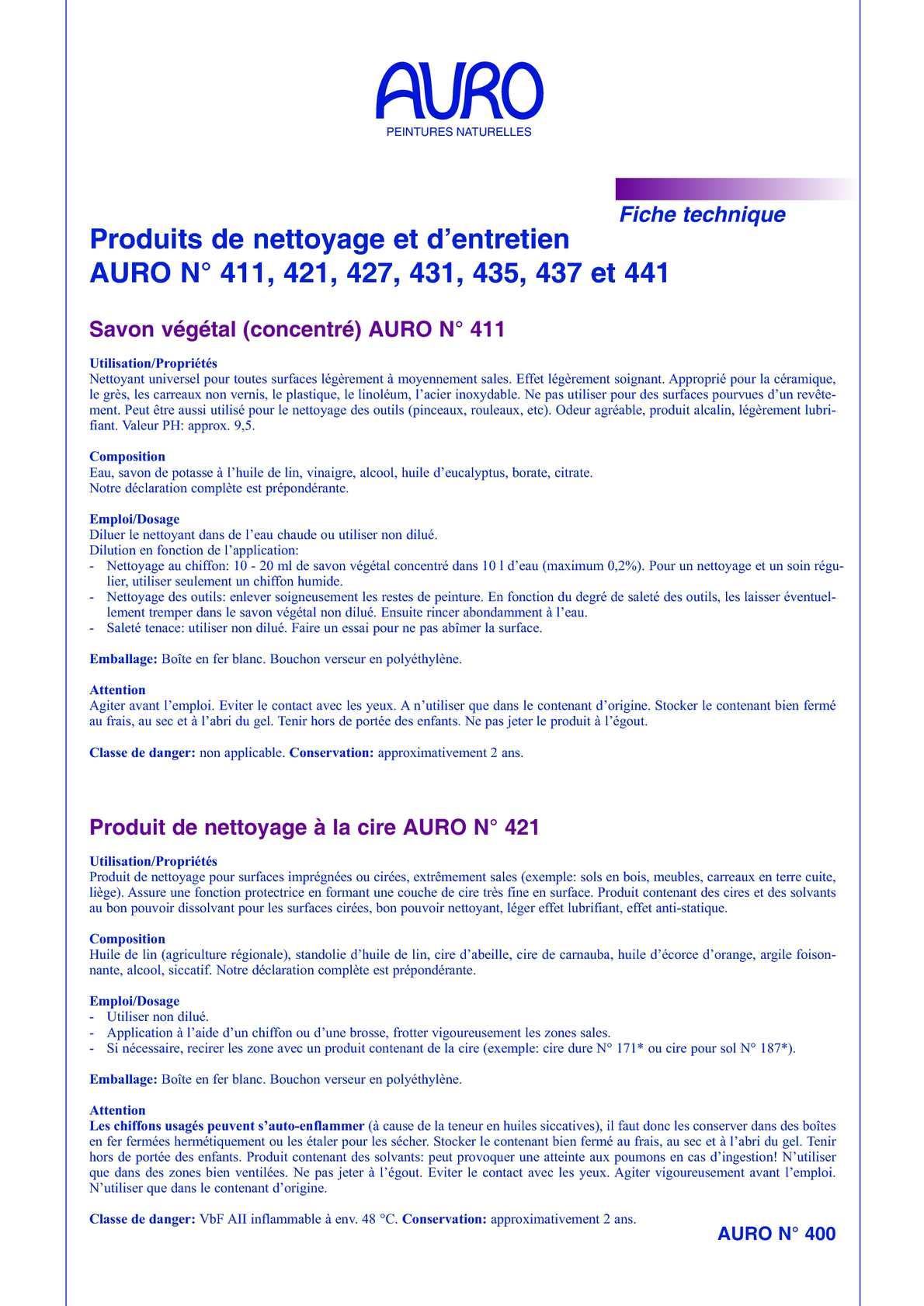 Calam o produits de nettoyage et d entretien auro 411 - Produit entretien naturel et efficace ...