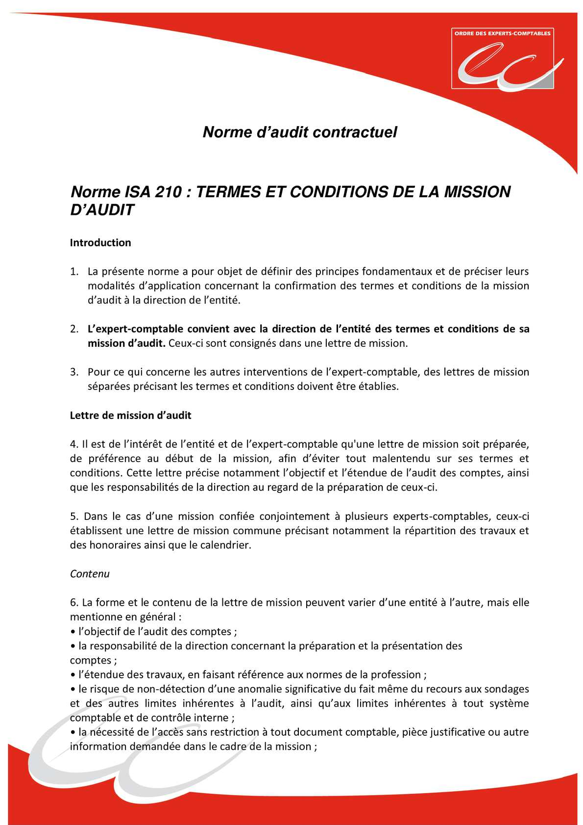 exemple lettre de mission expert comptable Calaméo   NS   Mission d'audit contractuel exemple lettre de mission expert comptable