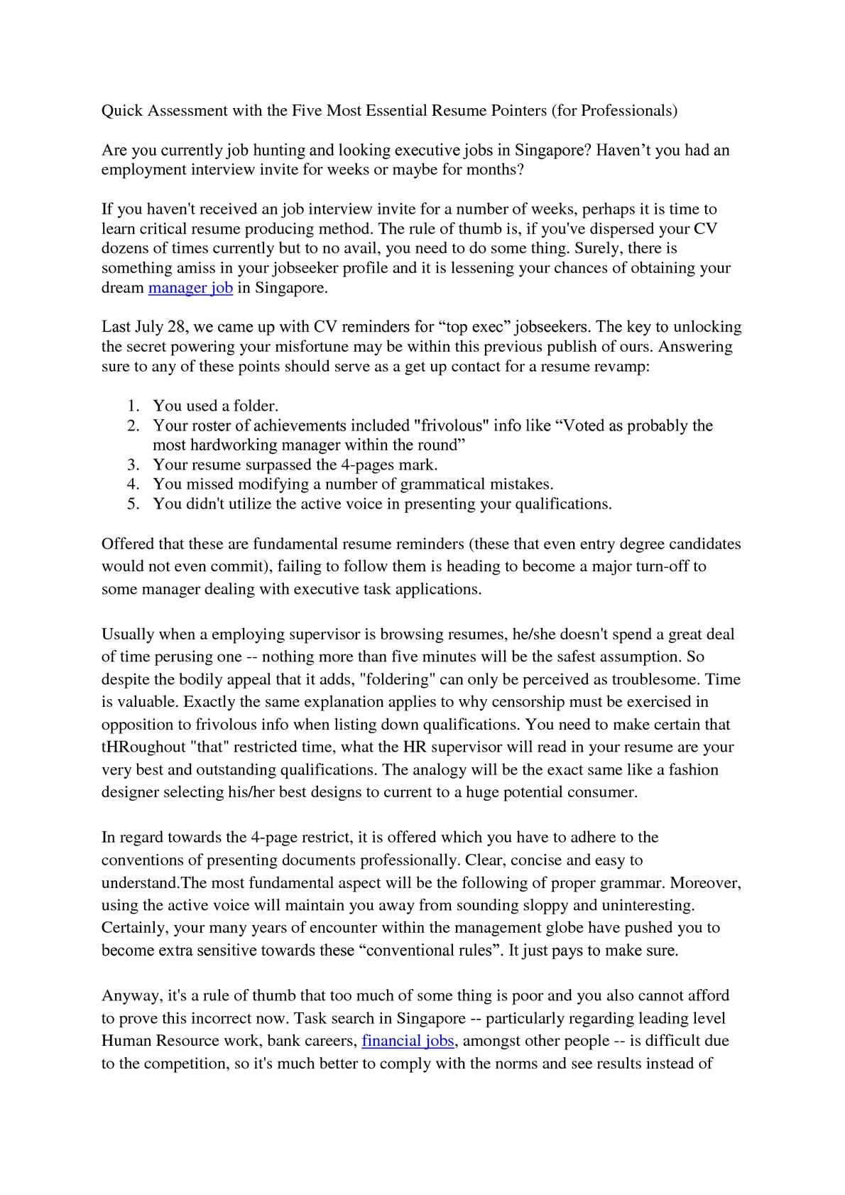 Calamo Quick Review Of The Five Most Basic Resume Reminders For