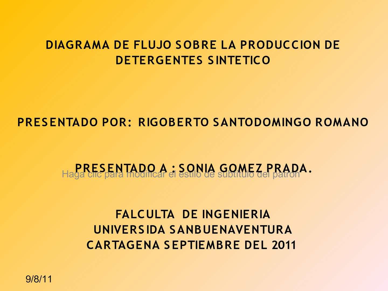 DIAGRAMA DE FLUJO DE LA PRODUCCION DE DETERGENTES SINTETICO
