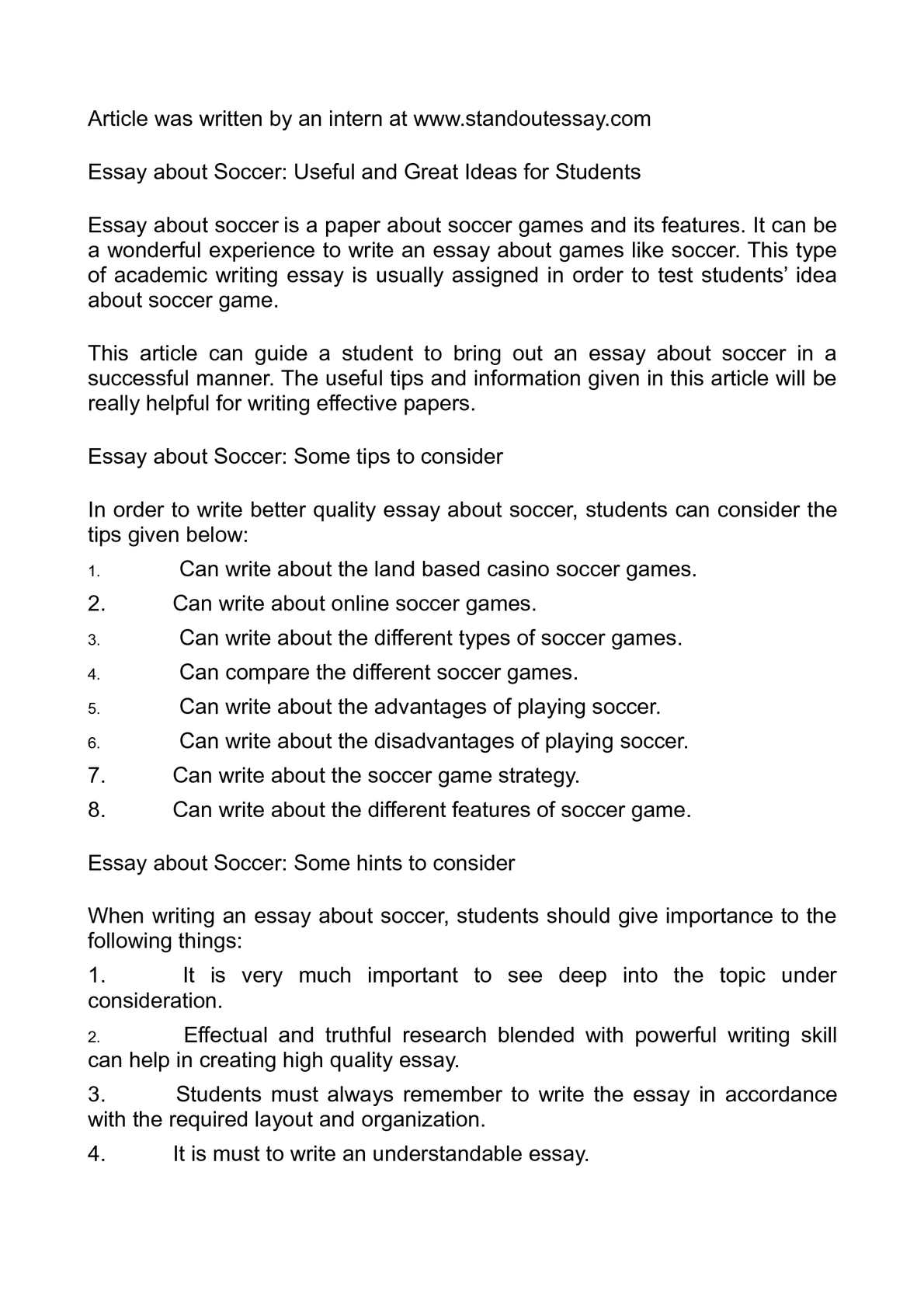 essay about soccer useful and great ideas for students