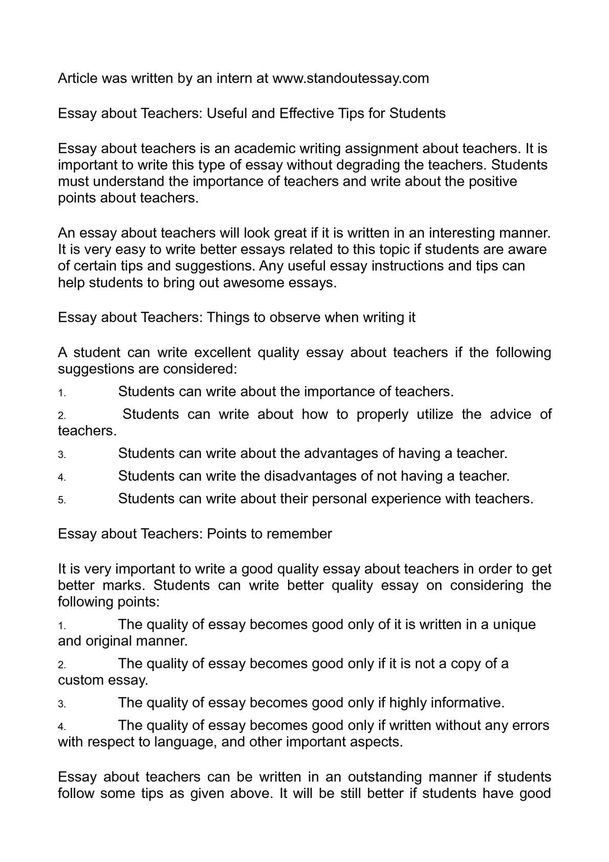 essay about teachers useful and effective tips for students