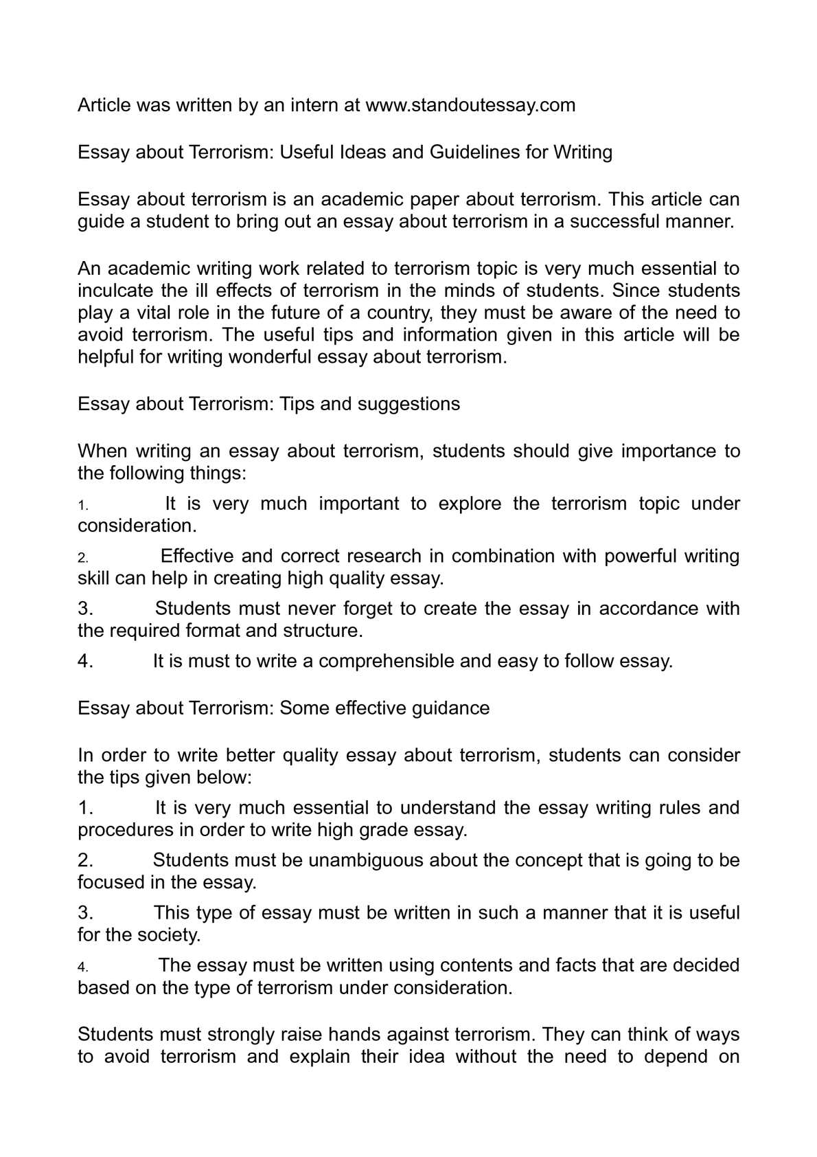 Calamo  Essay About Terrorism Useful Ideas And Guidelines For Writing