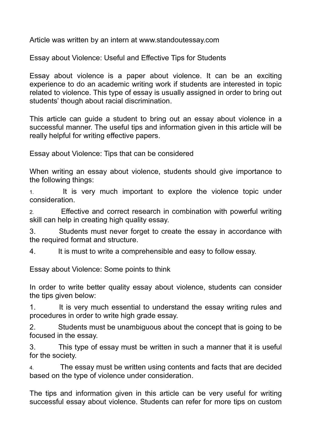 Calamo  Essay About Violence Useful And Effective Tips For Students