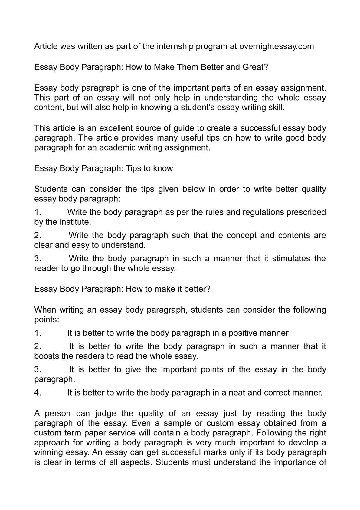 How to write an application essay body paragraph