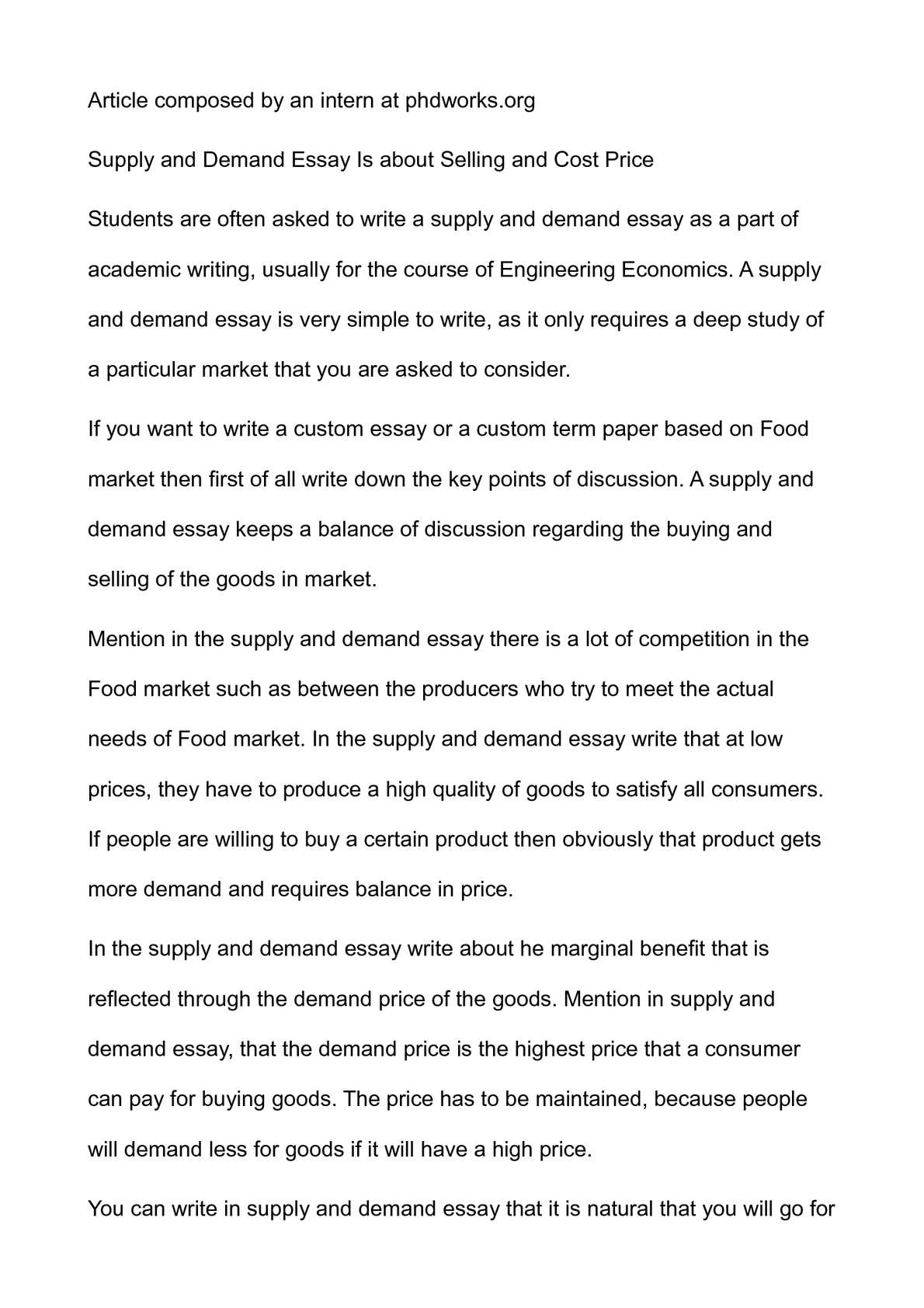 Calamo  Supply And Demand Essay Is About Selling And Cost Price
