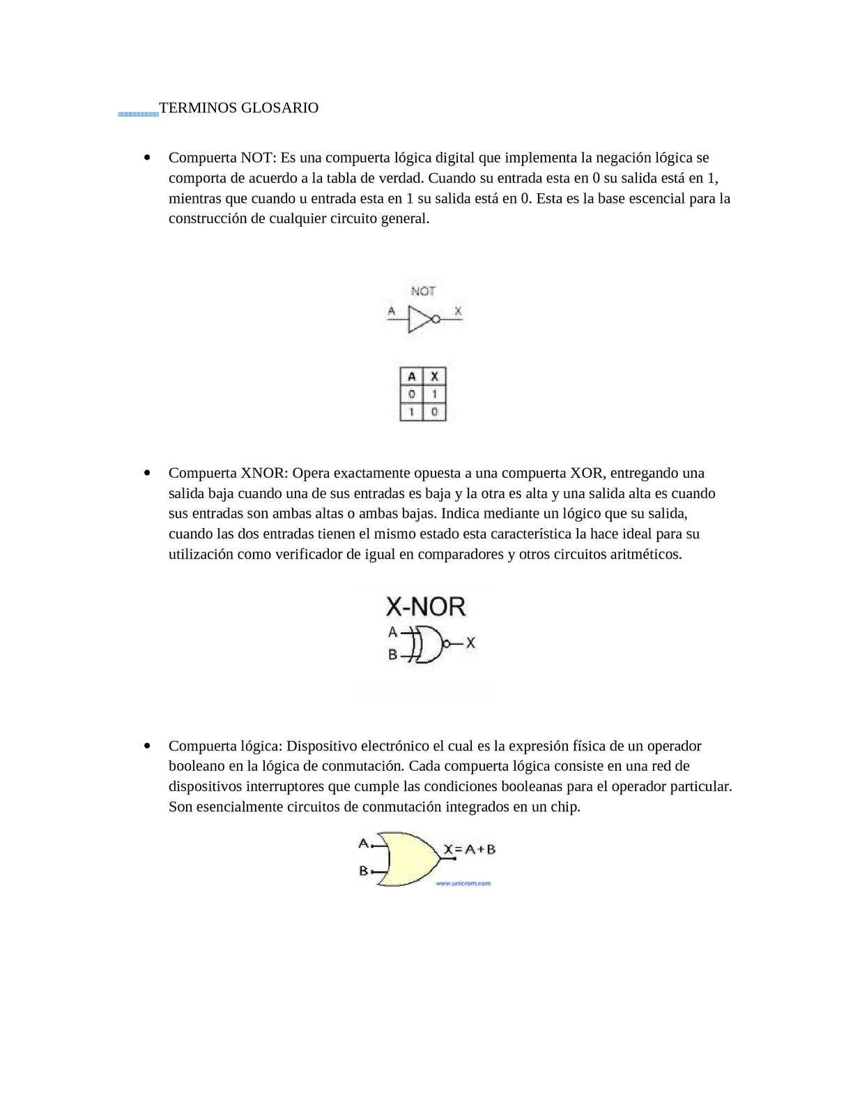 Circuito Xnor : Calaméo terminos glosario