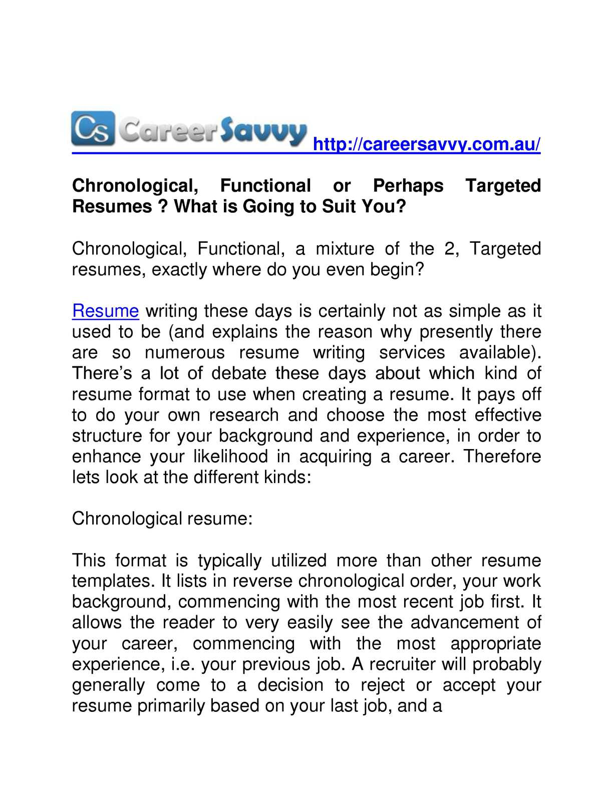 Calameo Chronological Functional Or Perhaps Targeted Resumes What