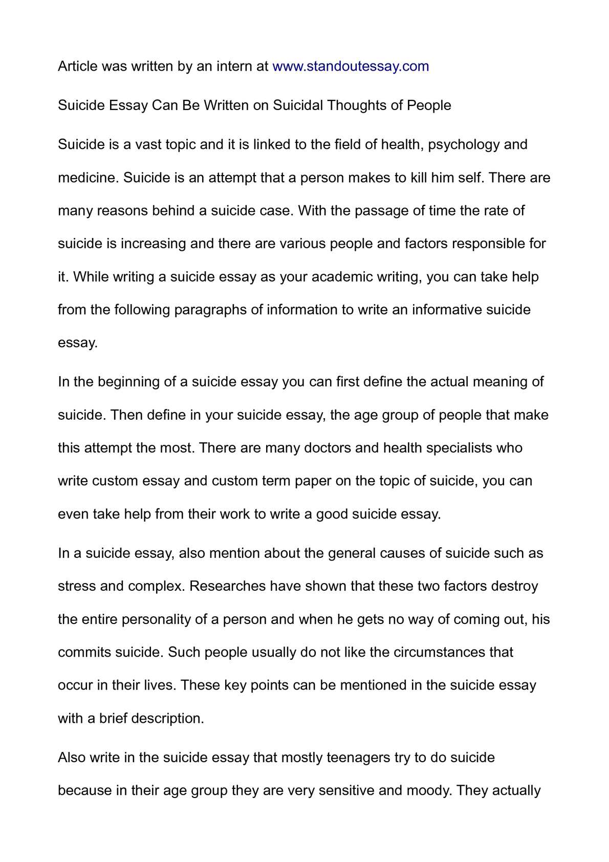 suicide essay can be written on suicidal thoughts of people