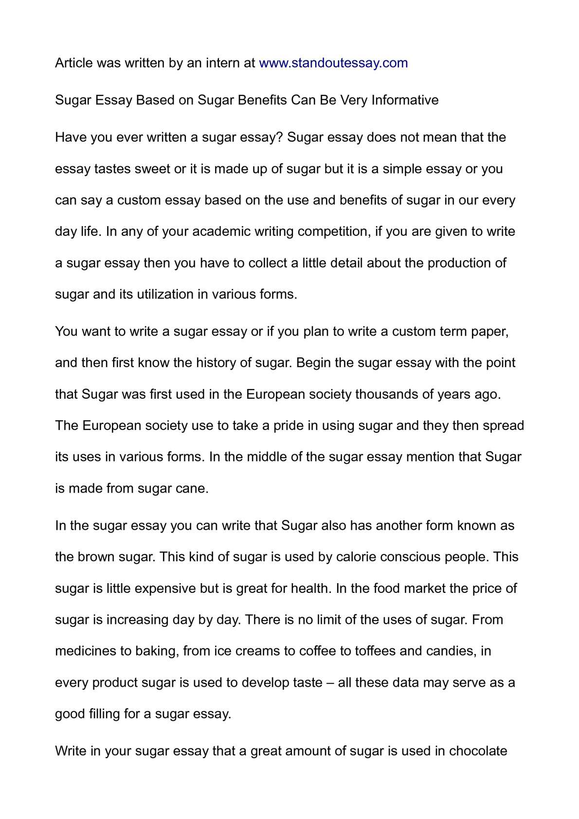 sugar essay based on sugar benefits can be very informative