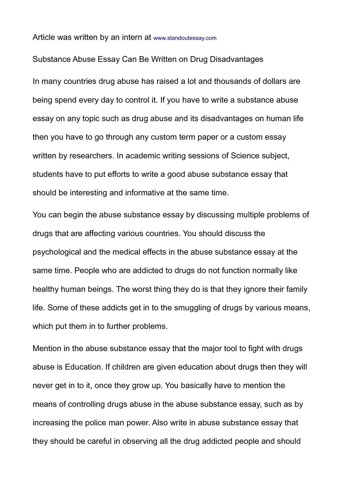 calam atilde copy o substance abuse essay can be written on drug disadvantages