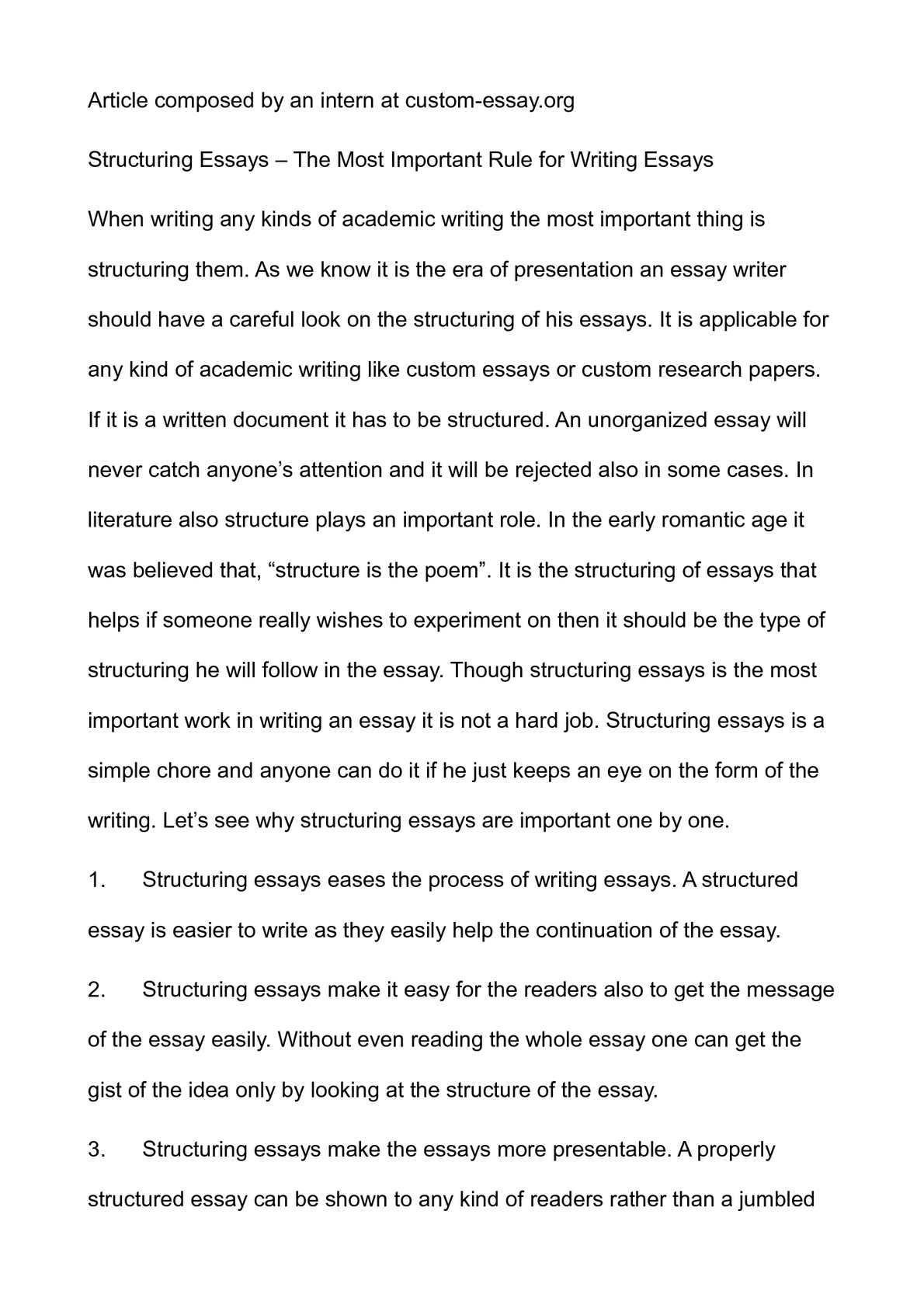 Essay Writing Examples English Calamo  Structuring Essays  The Most Important Rule For Writing Essays Essay On Science And Technology also Essay Health Calamo  Structuring Essays  The Most Important Rule For Writing  Writing Essay Papers