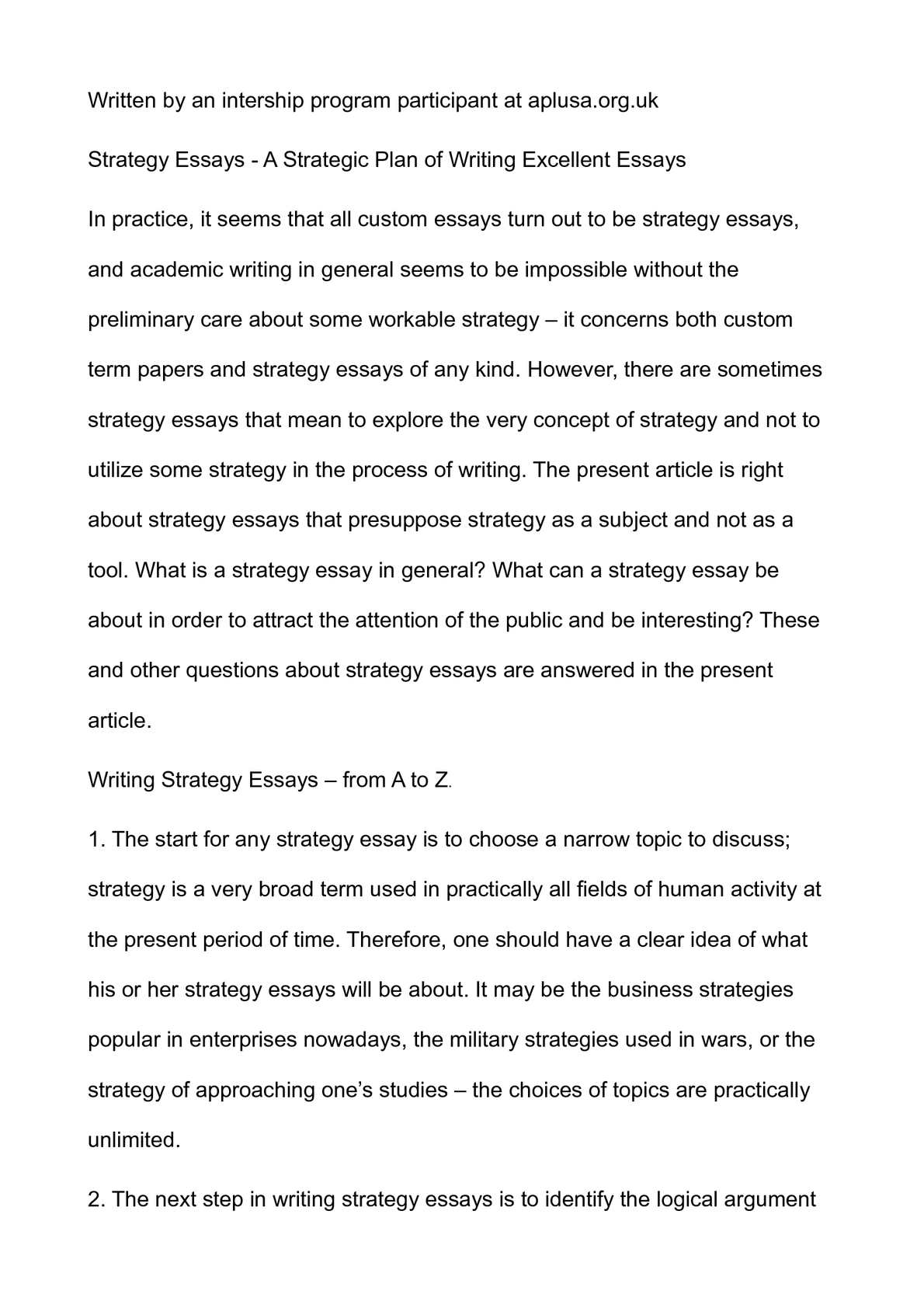 calamo  strategy essays  a strategic plan of writing excellent essays