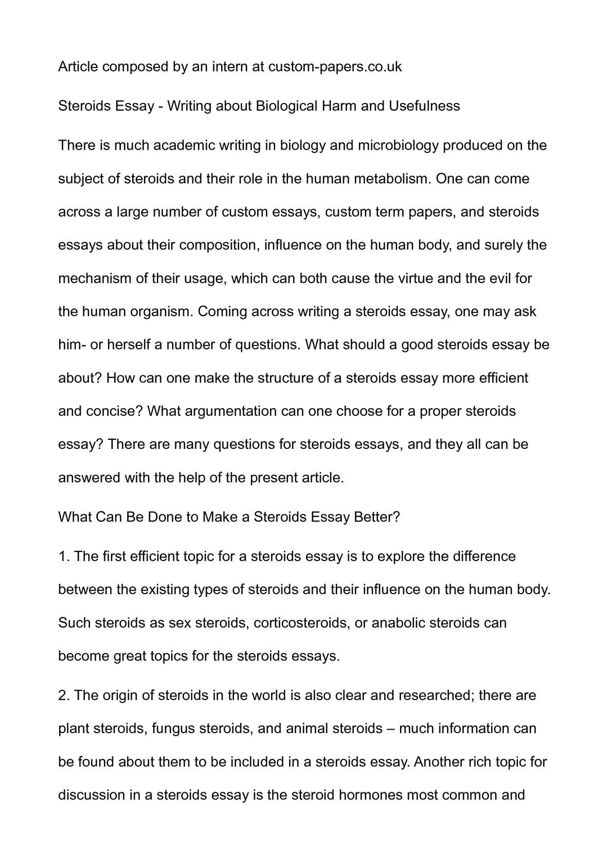 Calamo  Steroids Essay  Writing About Biological Harm And Usefulness