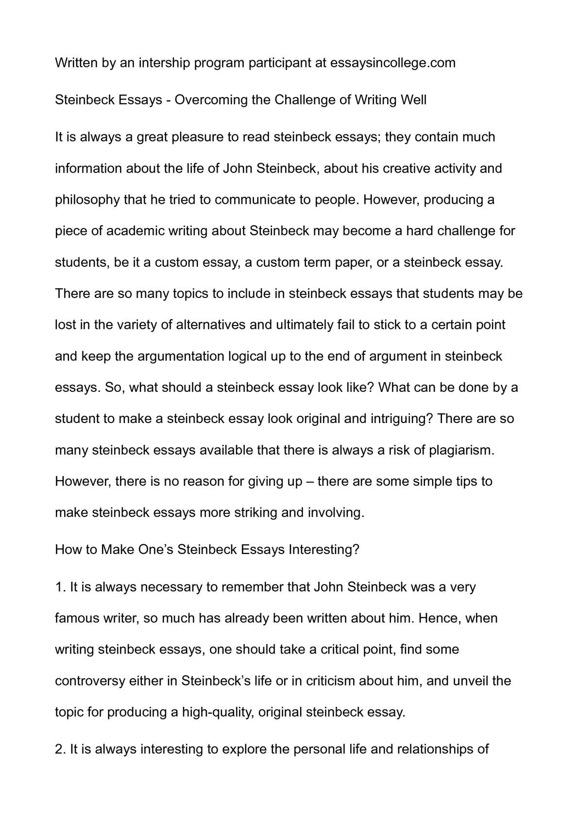 Online Research Sources  Write Me A Custom Report also Examples Of Thesis Statements For Persuasive Essays Calamo  Steinbeck Essays  Overcoming The Challenge Of Writing Well Ap English Essays