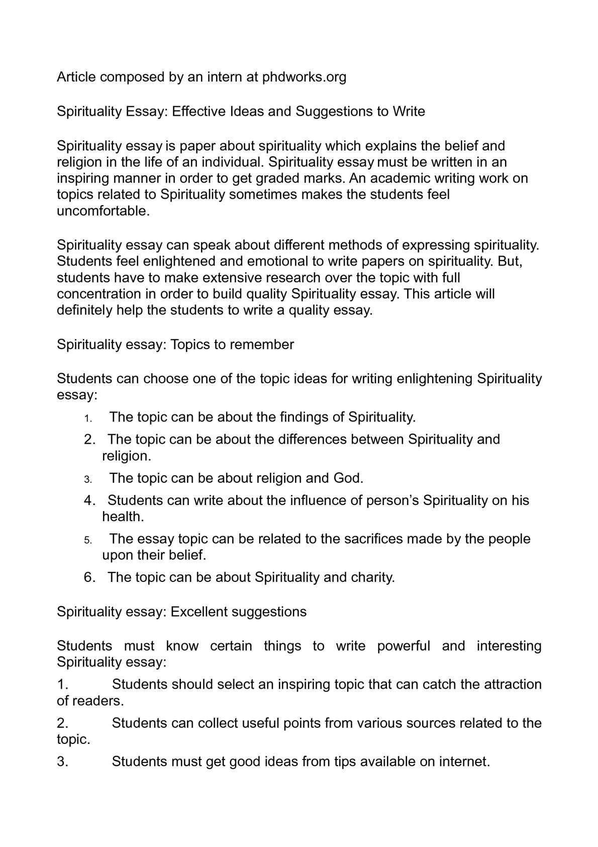 essay on spiritualism