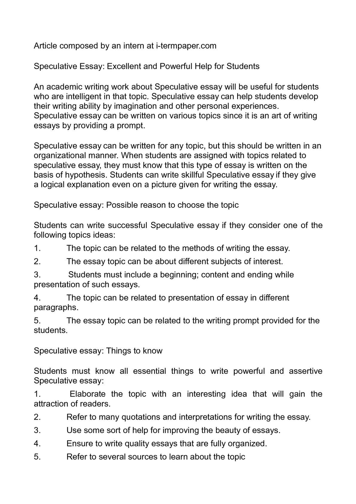 Essay Topics for a College Writing Class