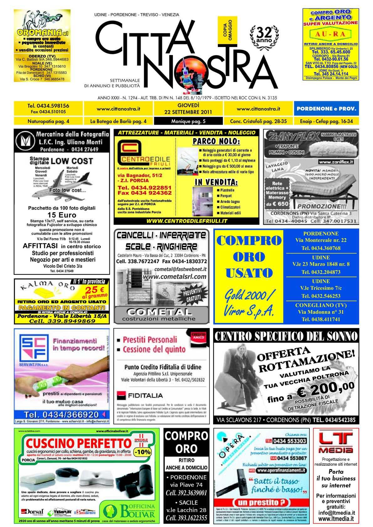 Calaméo Citt Nostra Pordenone Del 22 09 2011 N 1294